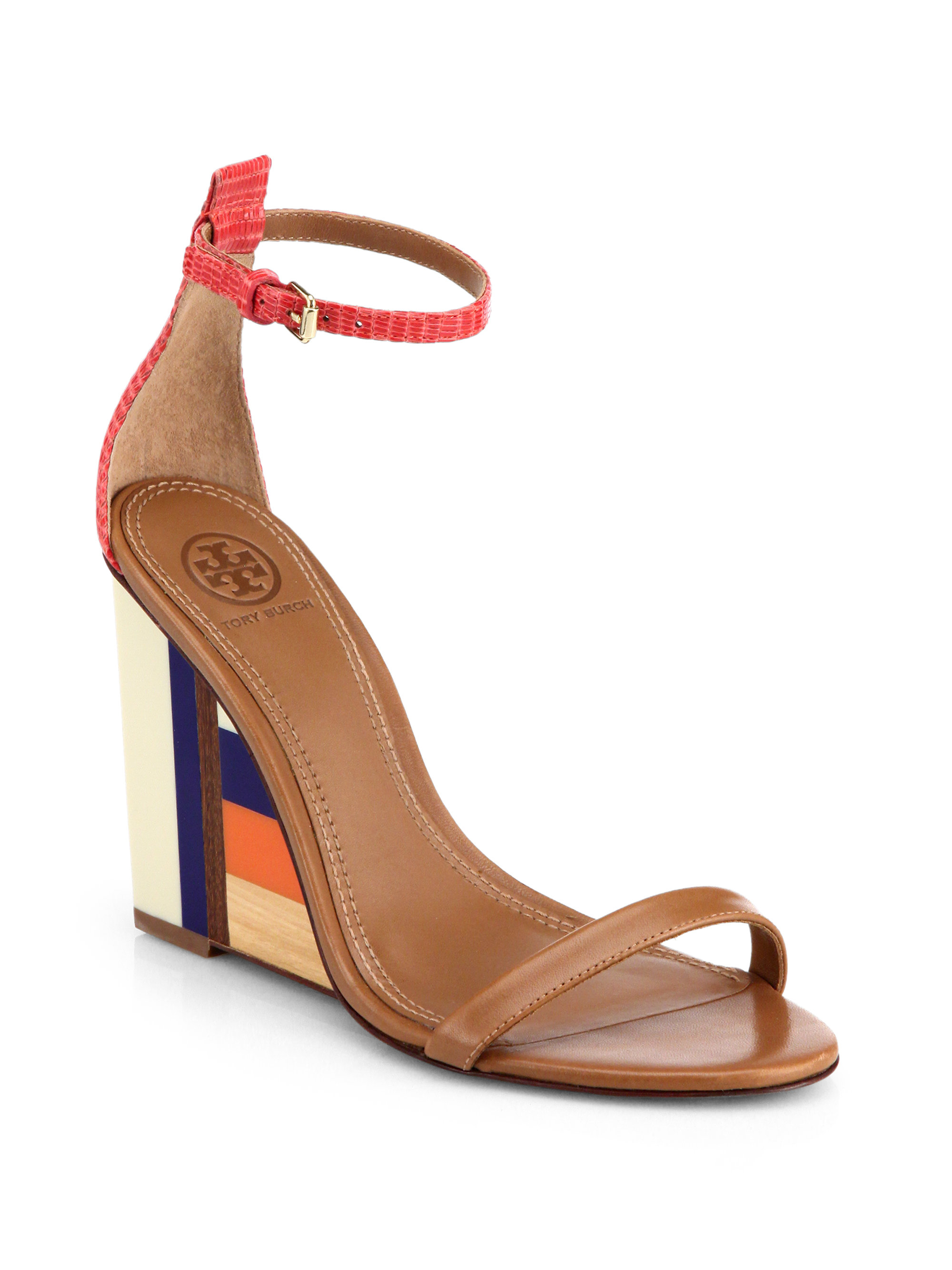 c1f3057b2 Lyst - Tory Burch Colorblock Wooden-Wedge Leather Sandals