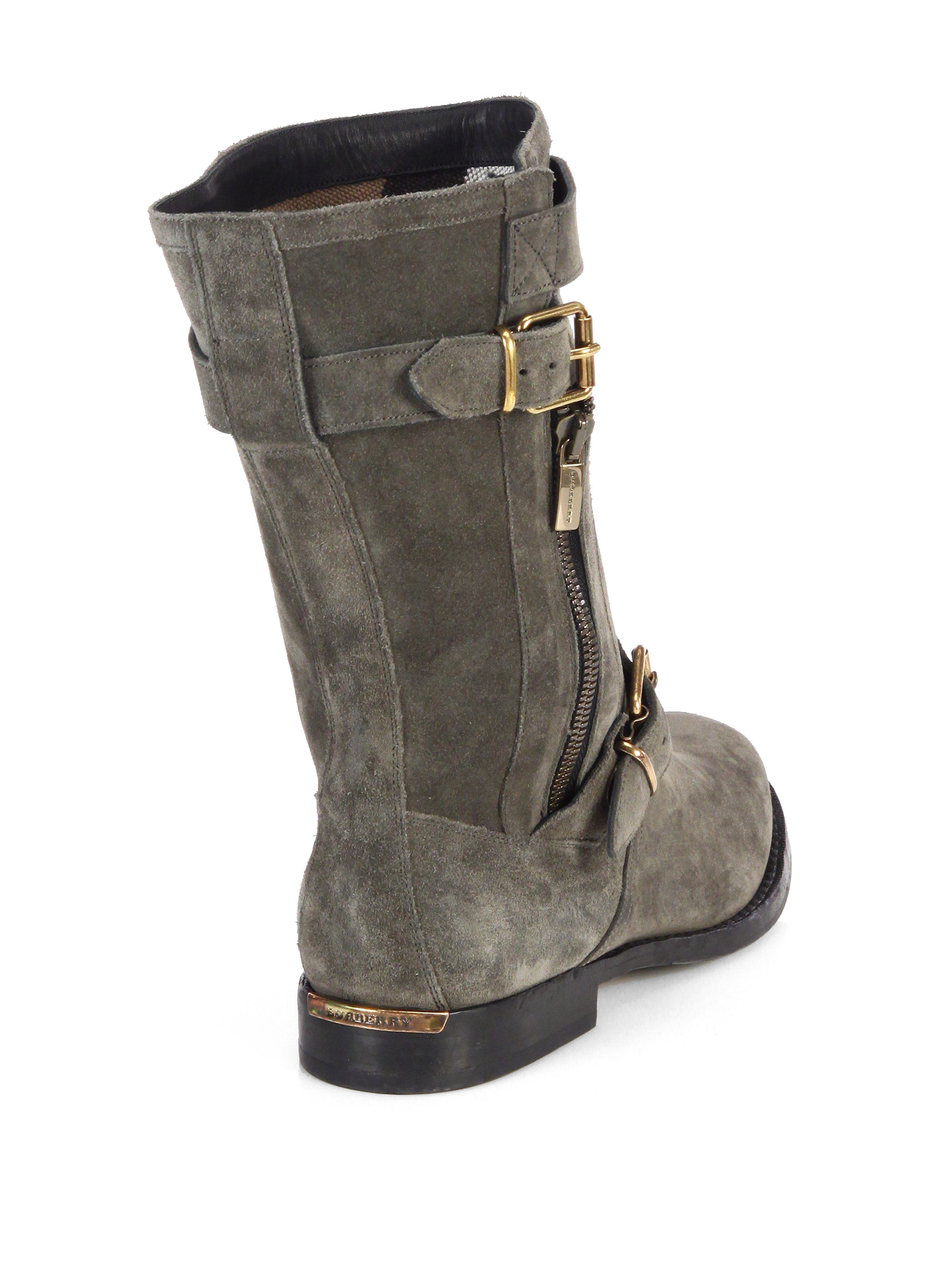 burberry grantville suede buckle midcalf boots in gray lyst