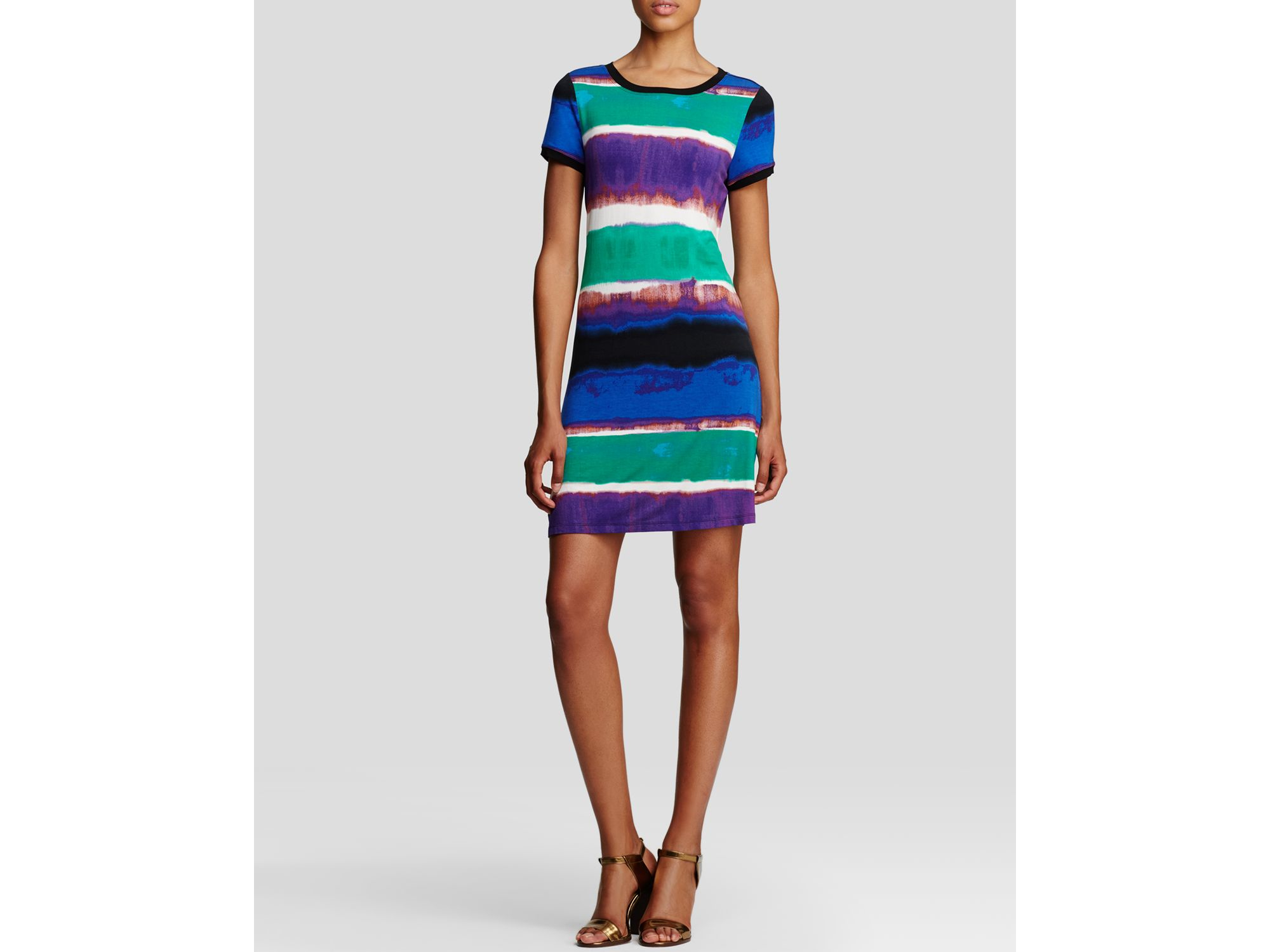 c7fafe46bc5 Lyst - Calvin Klein Abstract Stripe Tee Dress - Bloomingdale s ...