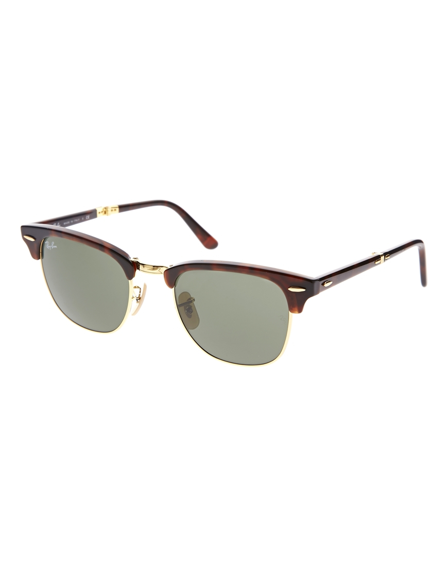 lyst ray ban foldable clubmaster sunglasses in brown. Black Bedroom Furniture Sets. Home Design Ideas