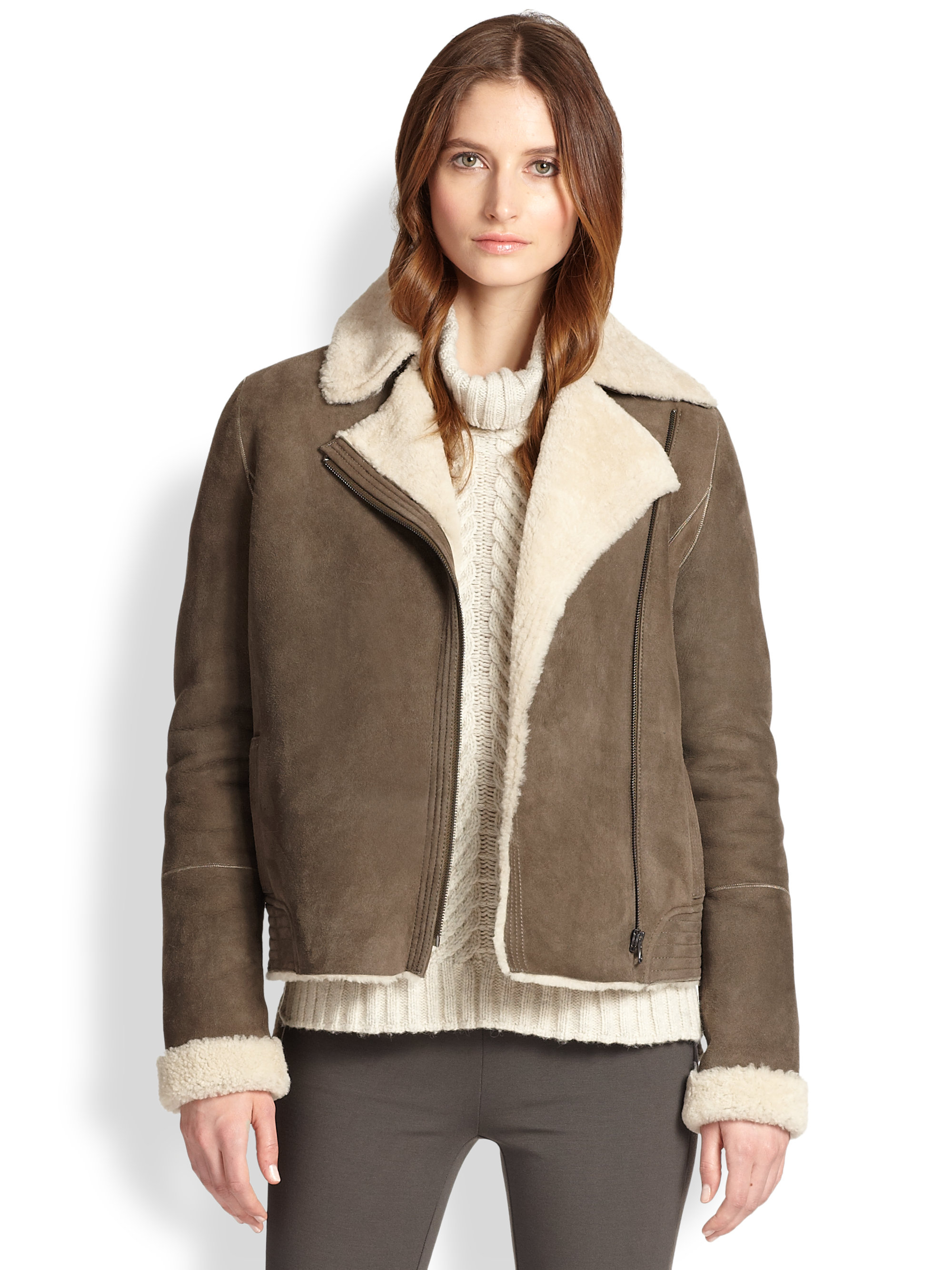 Vince Lamb Shearling Jacket in Brown | Lyst