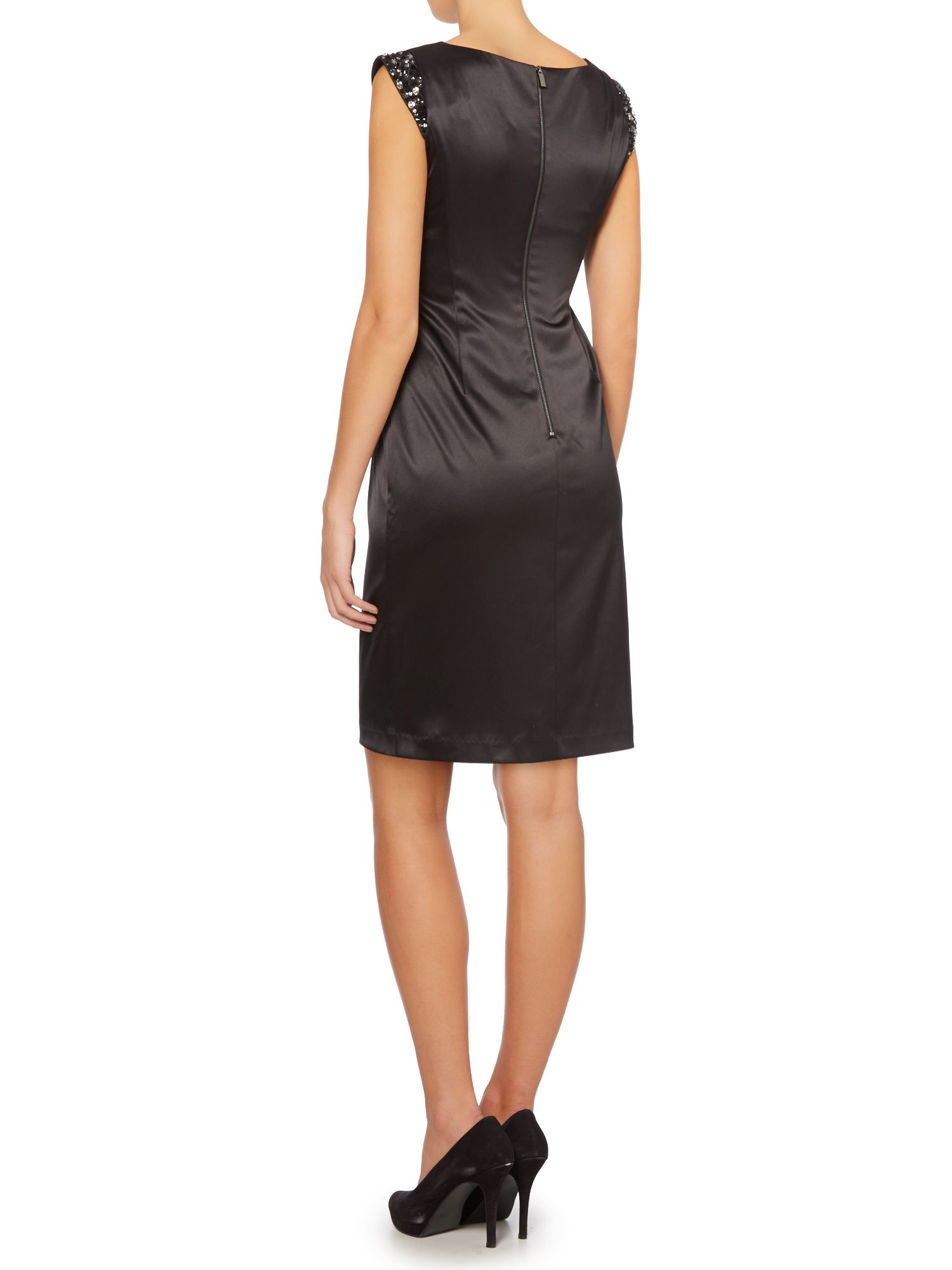 Vince Camuto Satin Dress With Embellished Sleeves In Black
