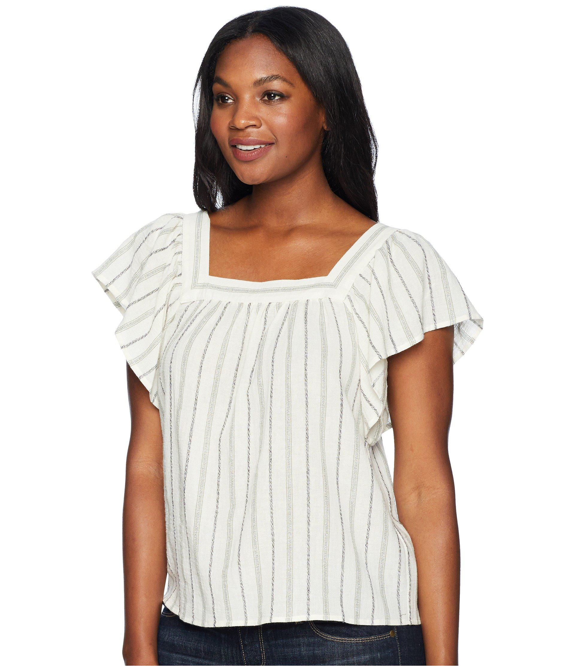 22ee0f3ba34 Lyst - Two By Vince Camuto Metallic Stripe Ruffle Sleeve Blouse in White -  Save 58.18181818181818%
