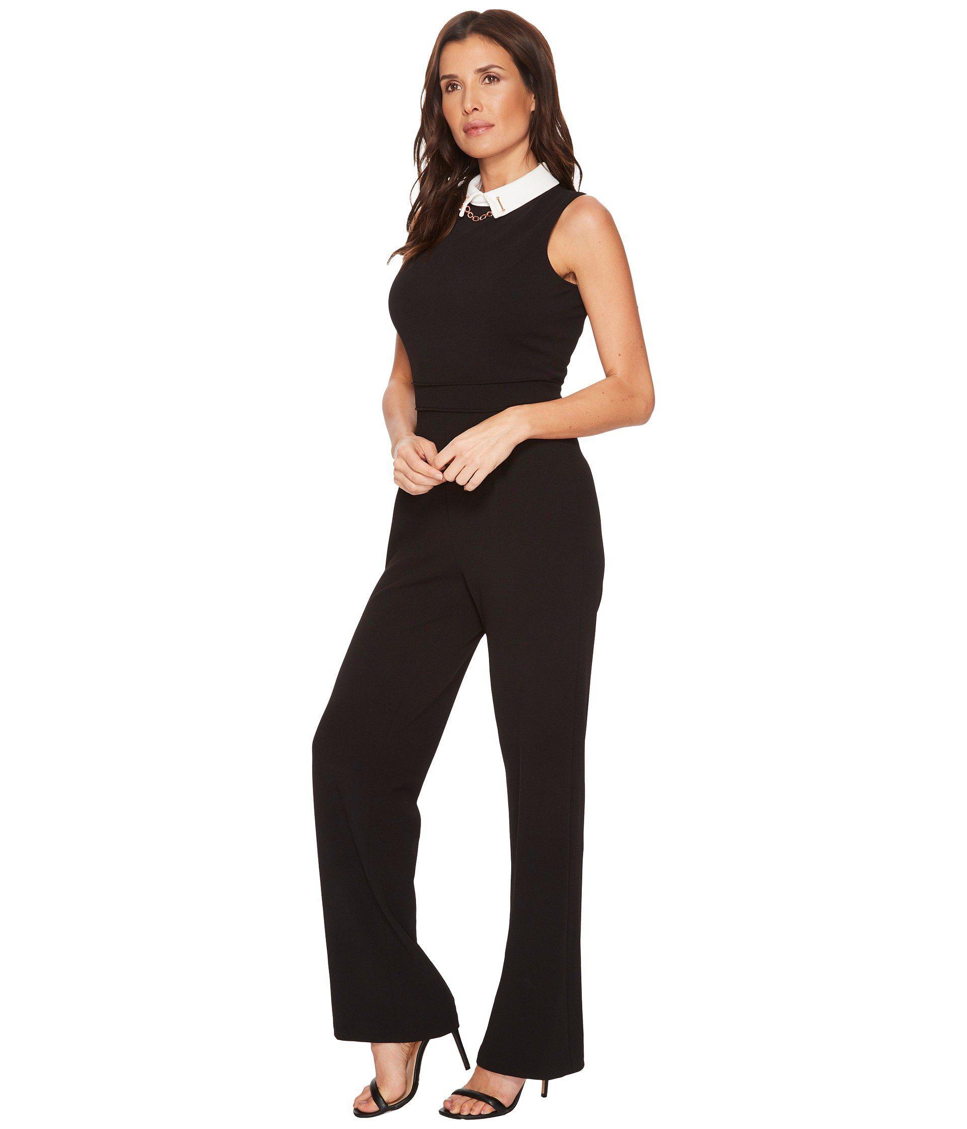 ec6d01148d0 Lyst - Ivanka Trump Scuba Crepe White Collar Jumpsuit in Black - Save 46%