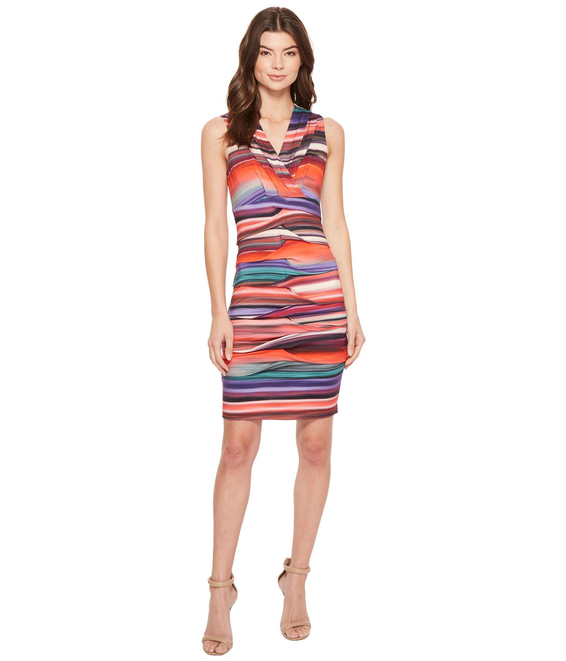 Lyst - Nicole Miller Abalone Stripe Dakota V-neck Dress in Red ...