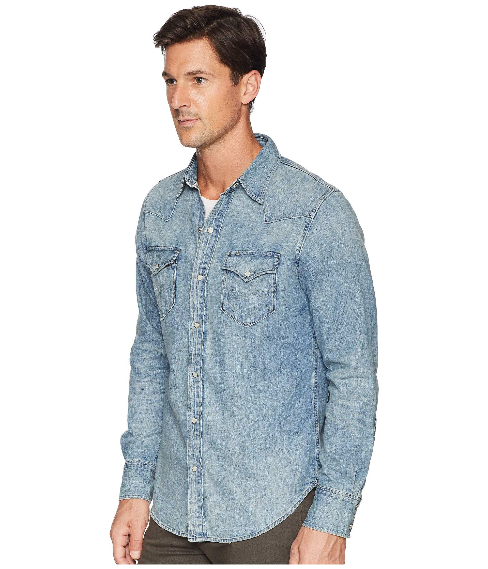5eb97d72d4 Lyst - Polo Ralph Lauren Classic Fit Denim Western Sport Shirt in Blue for  Men - Save 23.529411764705884%