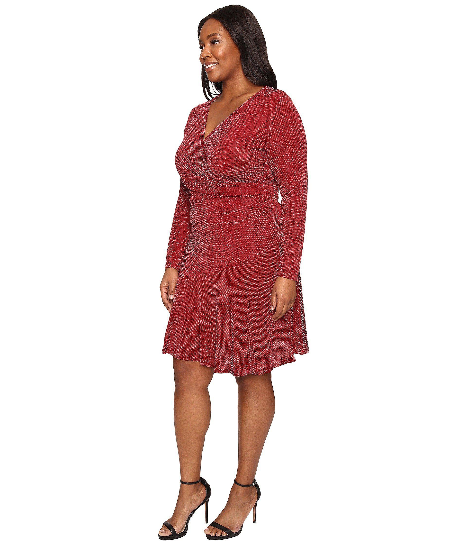 Lyst - MICHAEL Michael Kors Plus Size Long Sleeve Wrap Flounce Dress ...