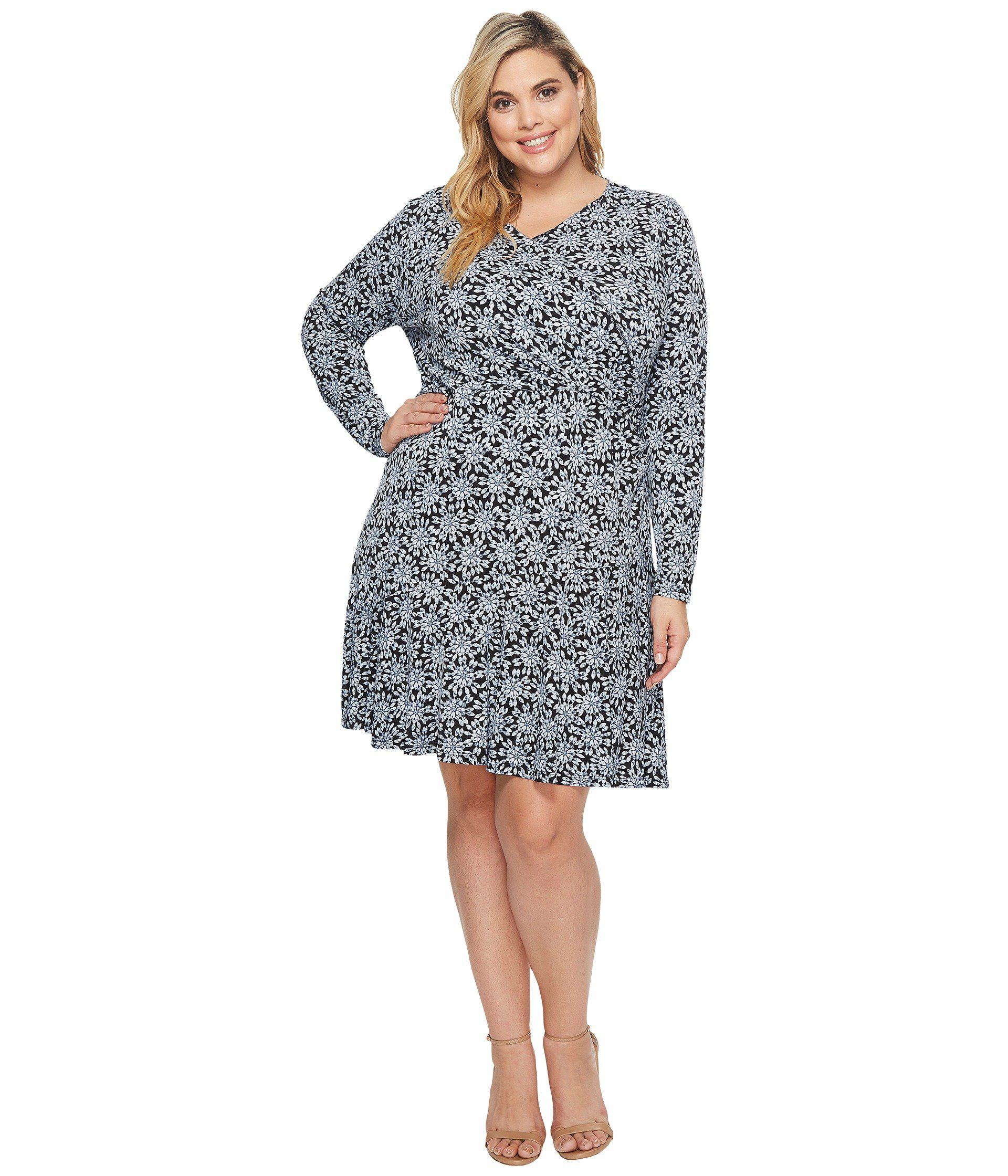 ca2d1ca3d9d MICHAEL Michael Kors. Women s Black Plus Size Long Sleeve Wrap Flounce Dress
