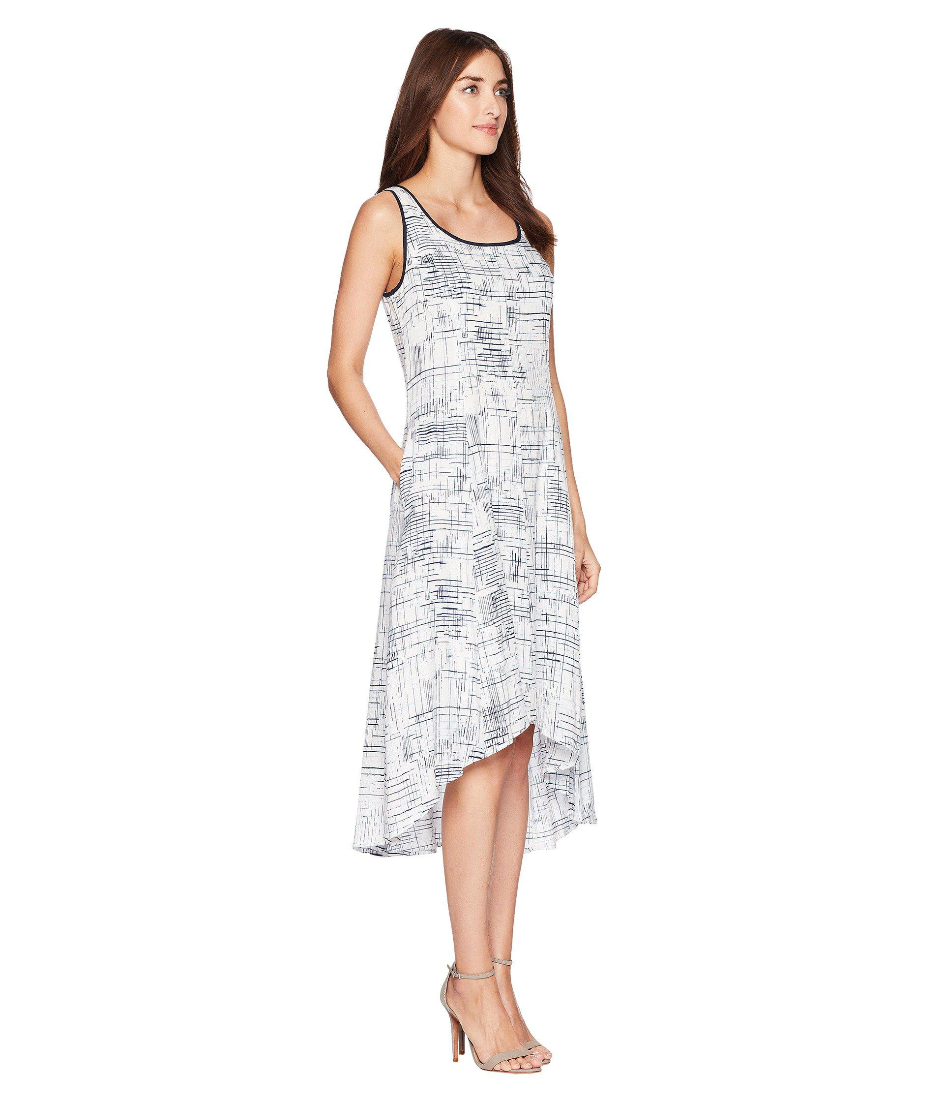 ff7404dbf8c Jones New York - White Sleeveless Printed Linen High-low Hem Dress - Lyst.  View fullscreen