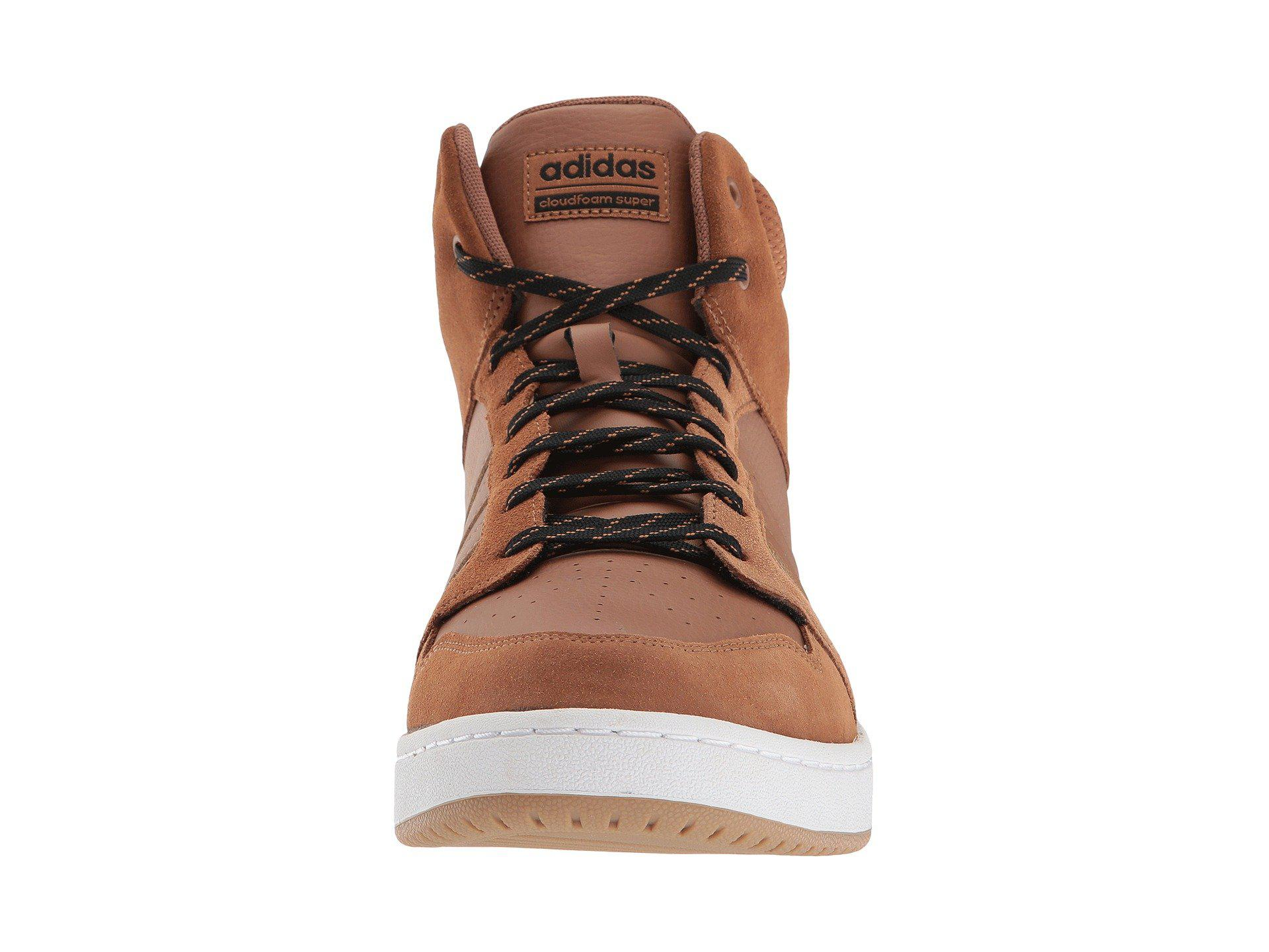 lyst adidas cloudfoam super hoops metà basket scarpa in marrone per gli uomini.
