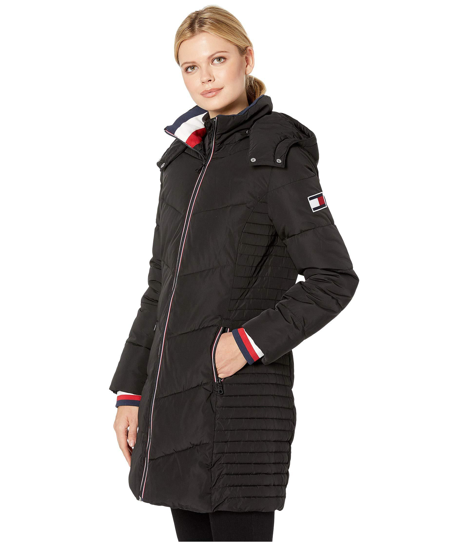 70d2b54a Tommy Hilfiger Long Chevron Quilted Puffer Coat W/ Hood in Black - Lyst