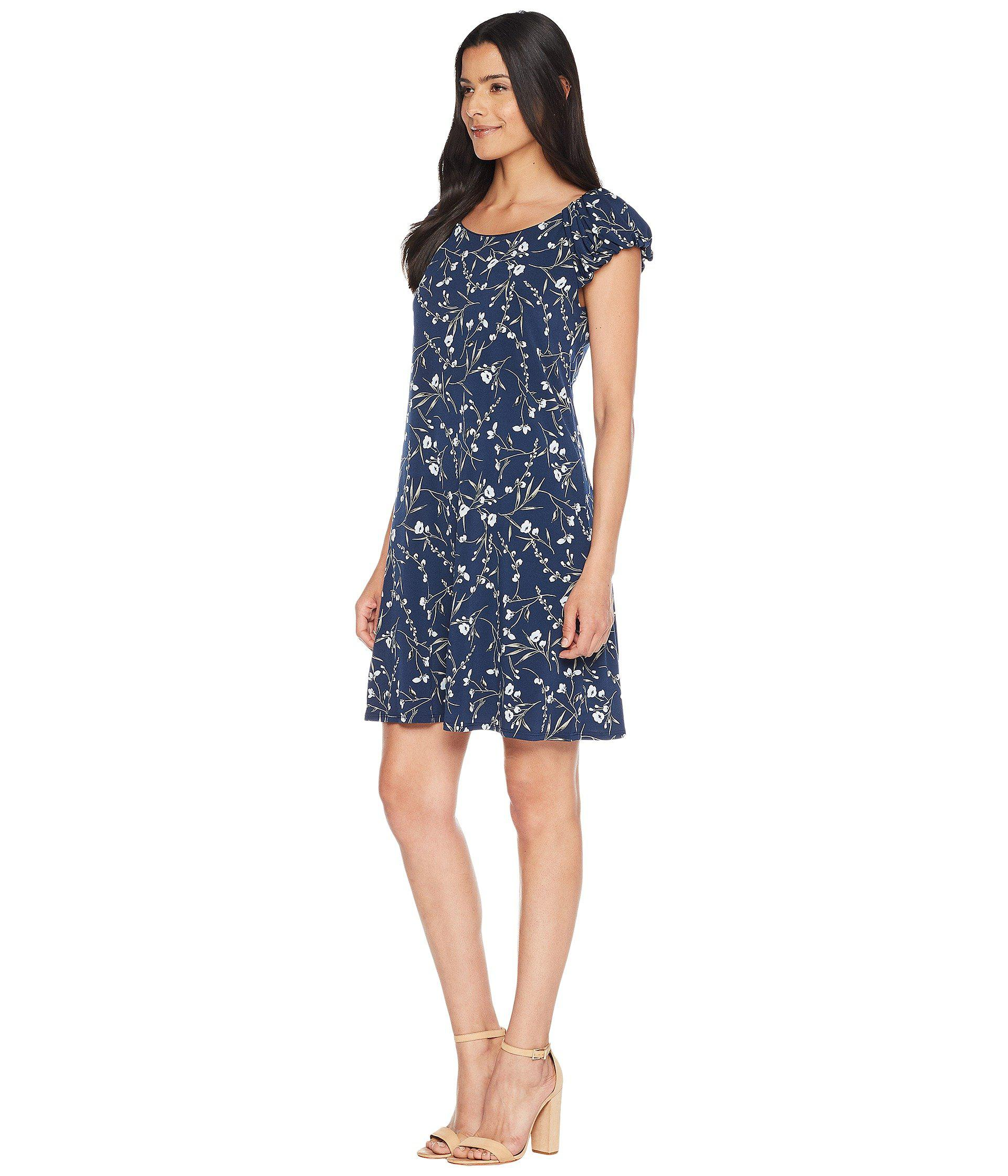91053a53c Lyst - Cece Puffed Sleeve Graceful Floral Knit Dress in Blue - Save  55.38461538461539%