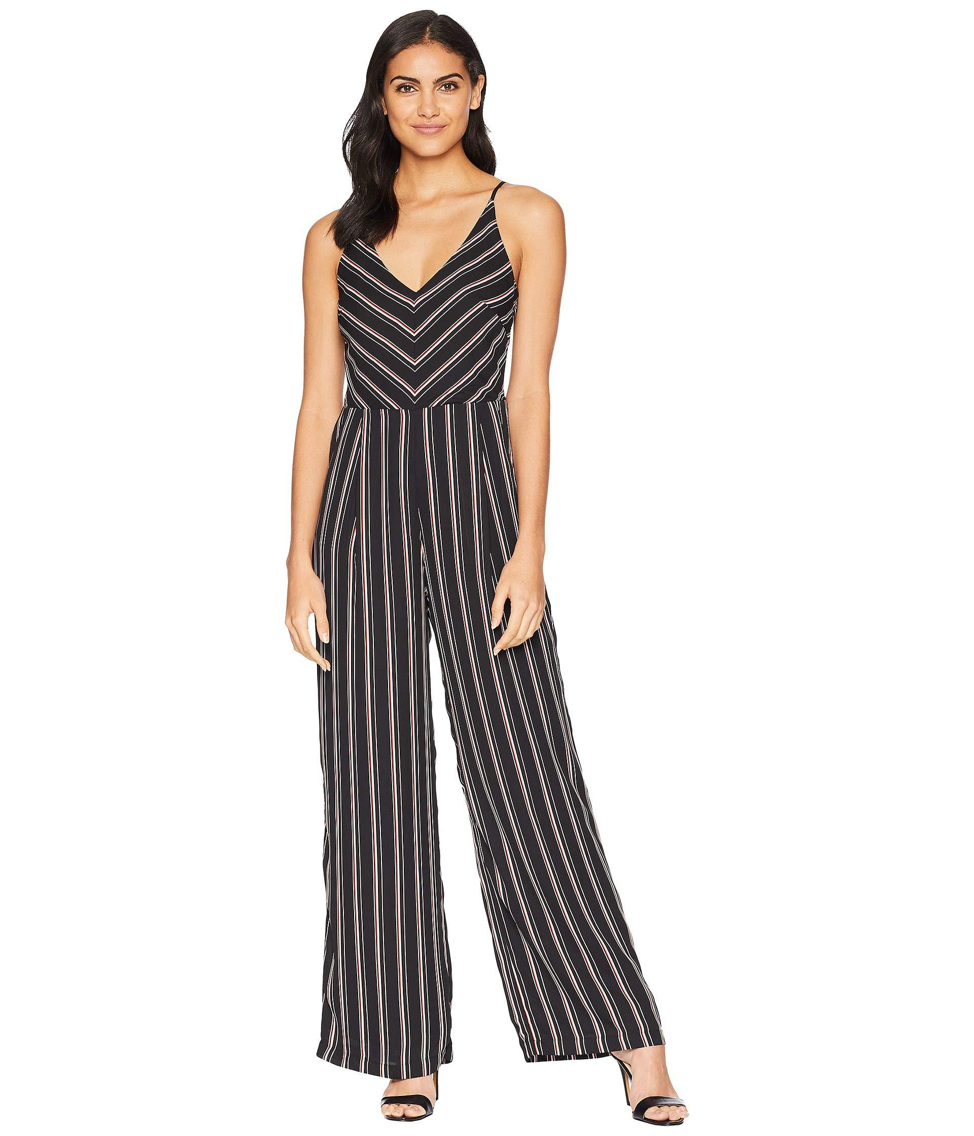 941f636ff76 Lyst - Adelyn Rae Kipling Woven Striped Jumpsuit in Black - Save 42%