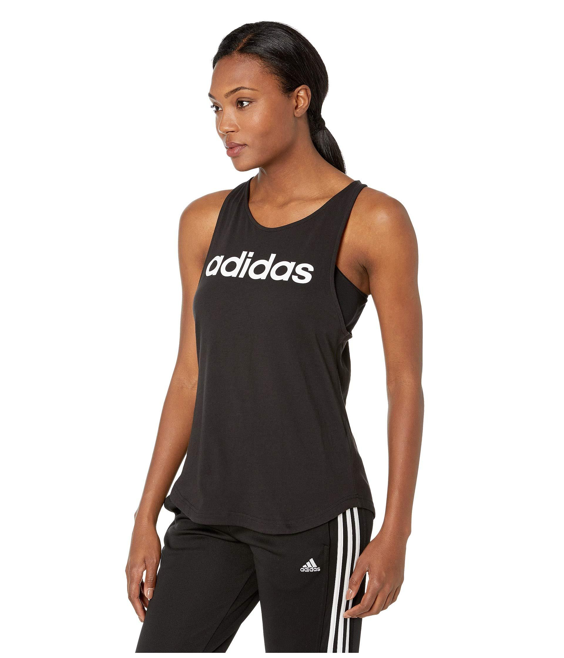 e439c2fc Lyst - adidas Essentials Linear Loose Tank Top in Black