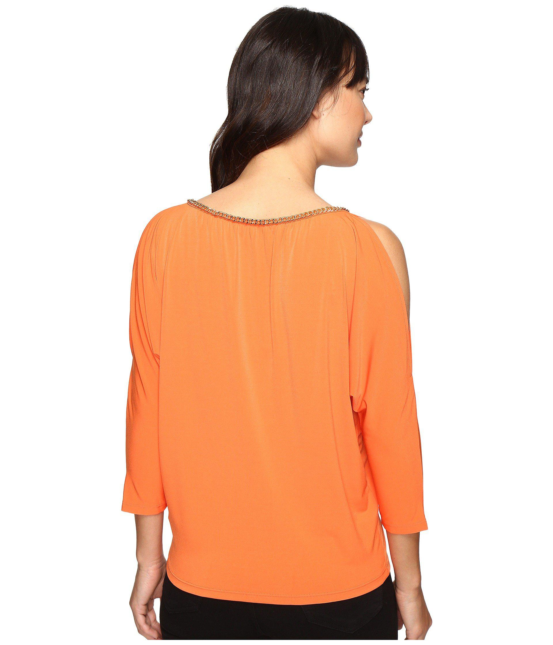 deeed169b00e1 ... purchase lyst michael michael kors chain neck cold shoulder top in  orange c610d 5ef26 ...