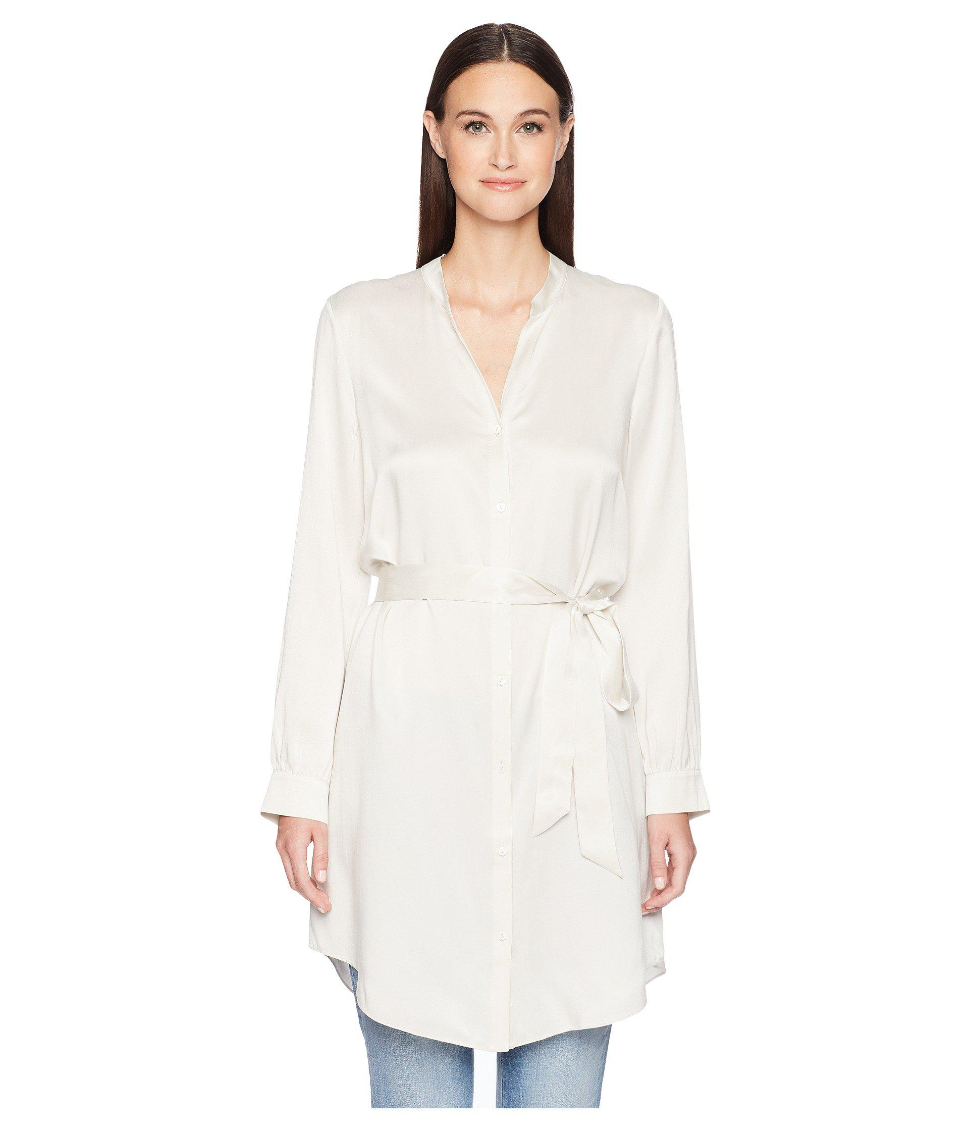 4cc7863f4c460a Lyst - Eileen Fisher Silk Charmeuse Shirt Dress. in White - Save 55%