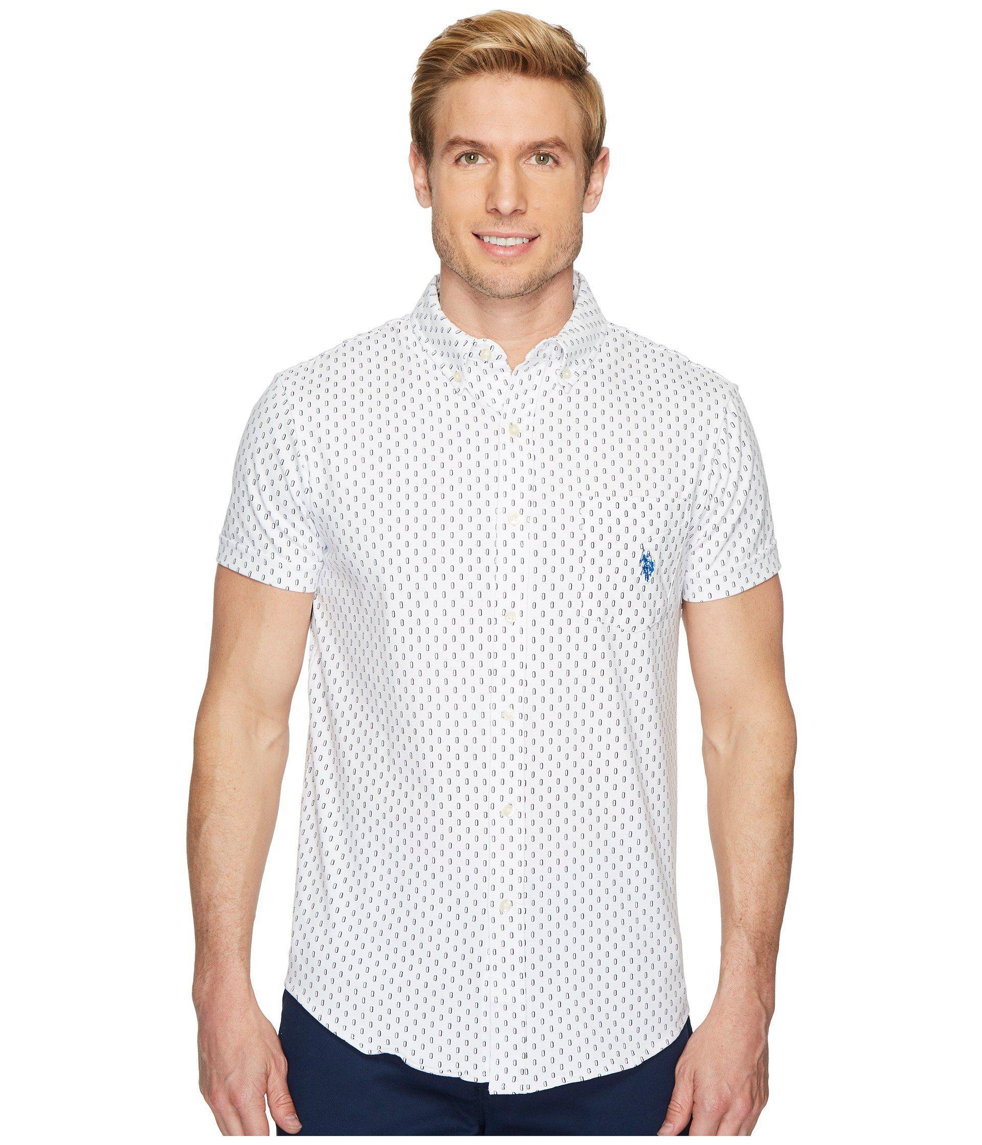 U.S. POLO ASSN. Men's White Short Sleeve Slim Fit Fancy Shirt