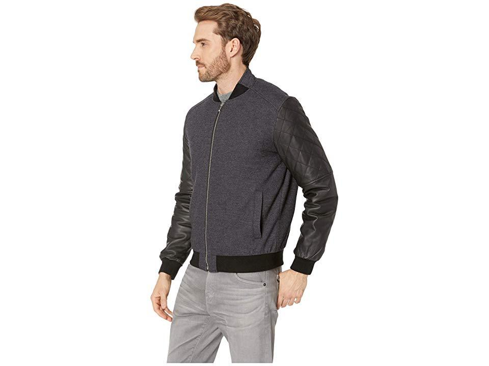1fd067a5a Bugatchi Wool Bomber With Leather Long Sleeves (black) Coat in Black ...