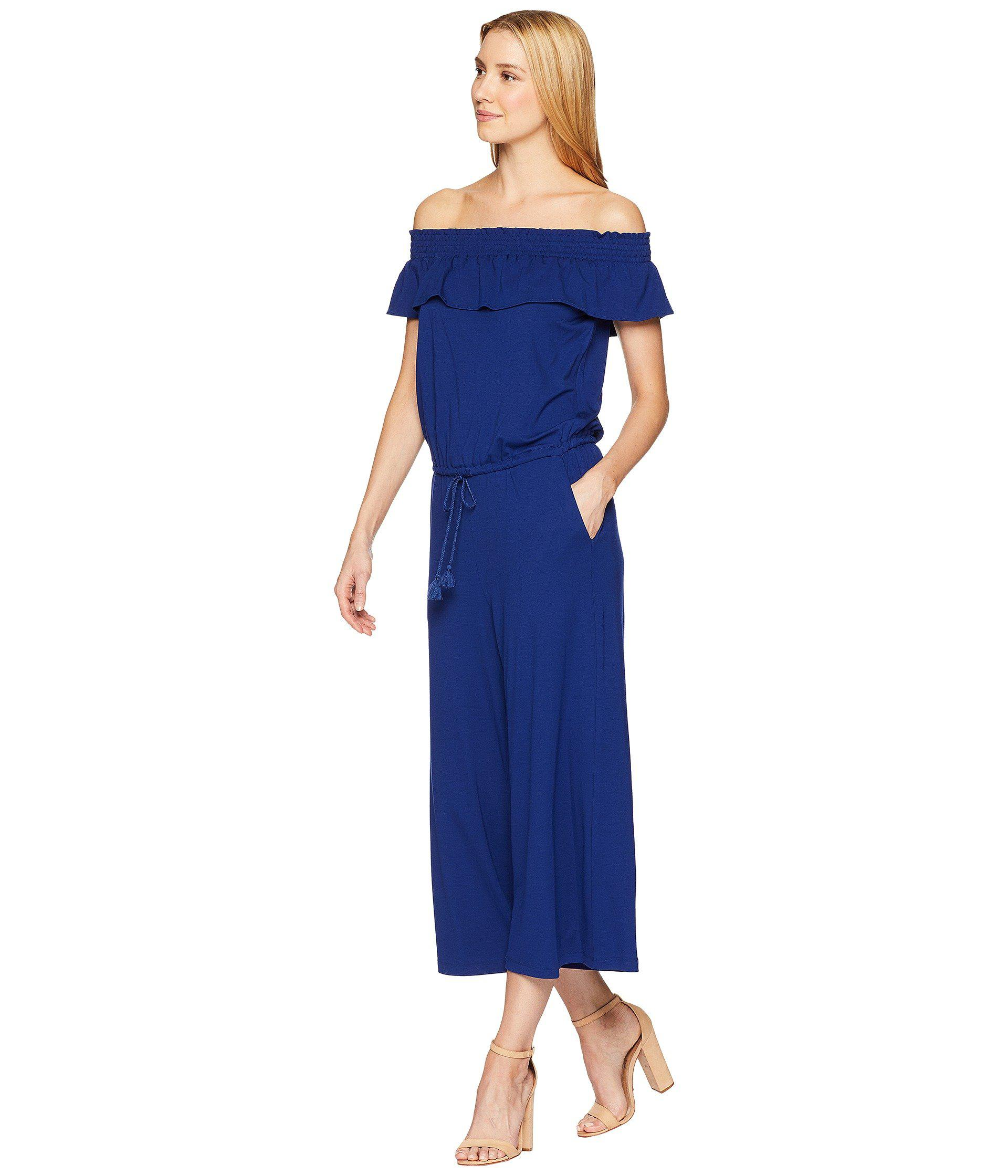 466e5b0f014d Lyst - Lauren by Ralph Lauren Off The Shoulder Wide-leg Jumpsuit in Blue -  Save 57%