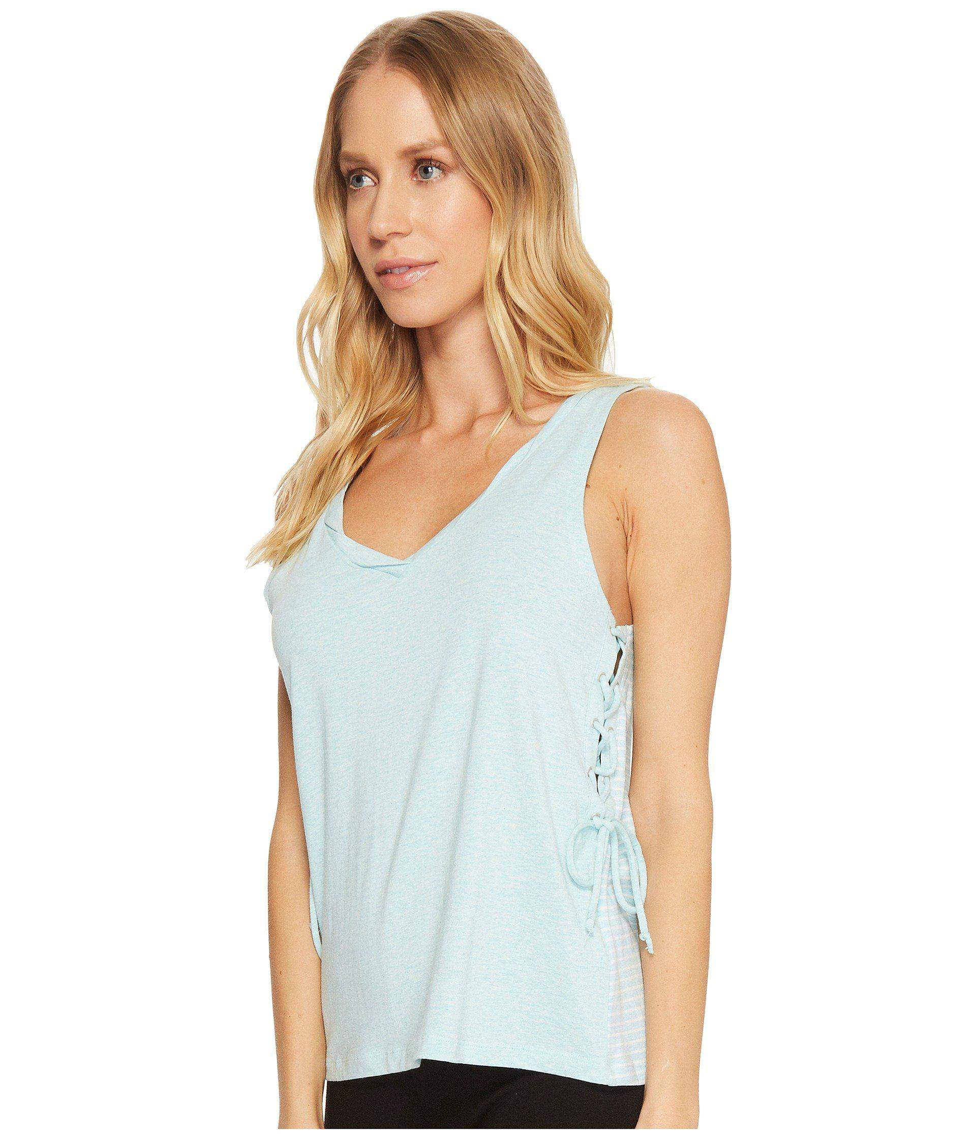 778316d42df04b Lyst - Splendid Lace-up Lounge Tank Top in Blue - Save 59%