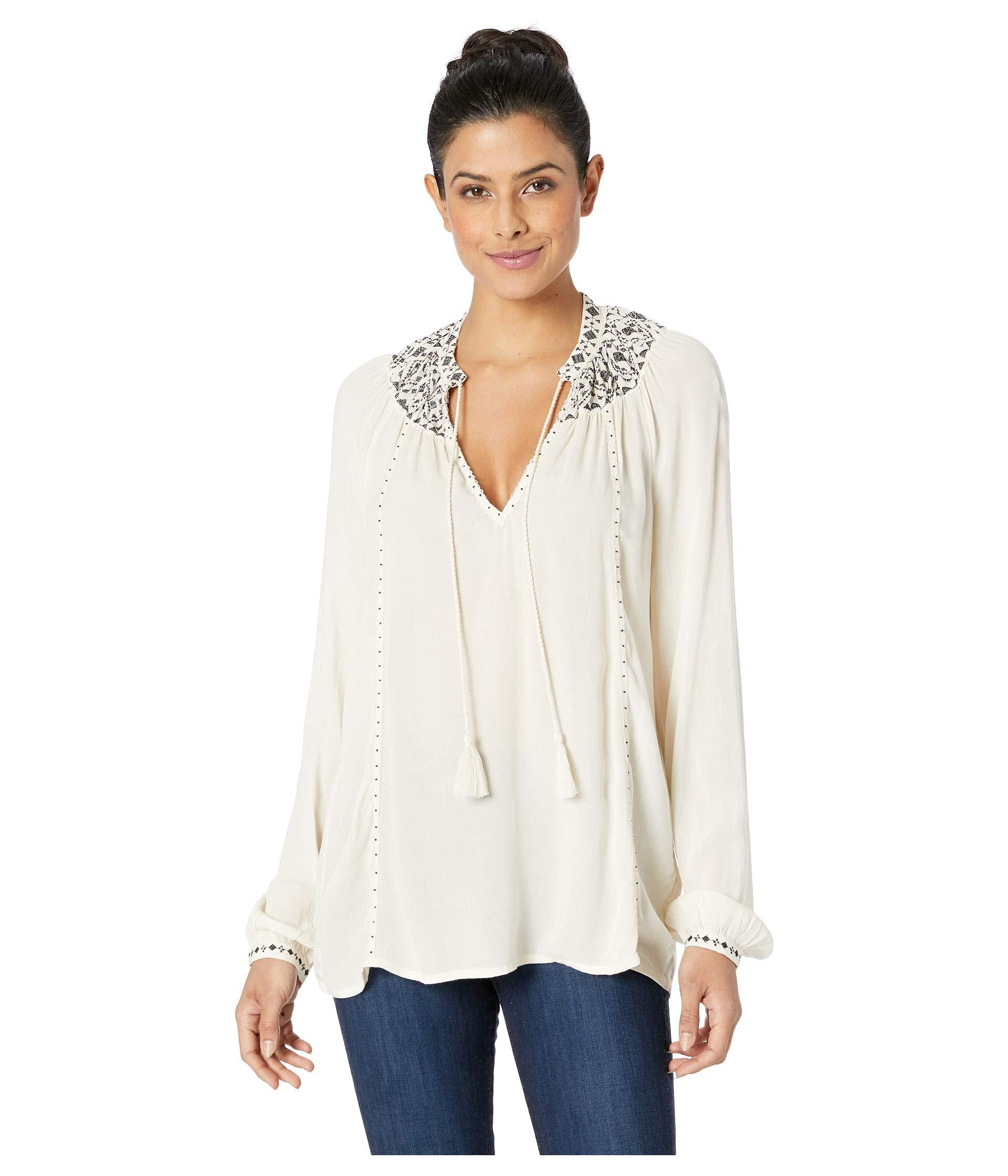 843f376bda270 Lyst - Lucky Brand Embroidered Peasant Top in White