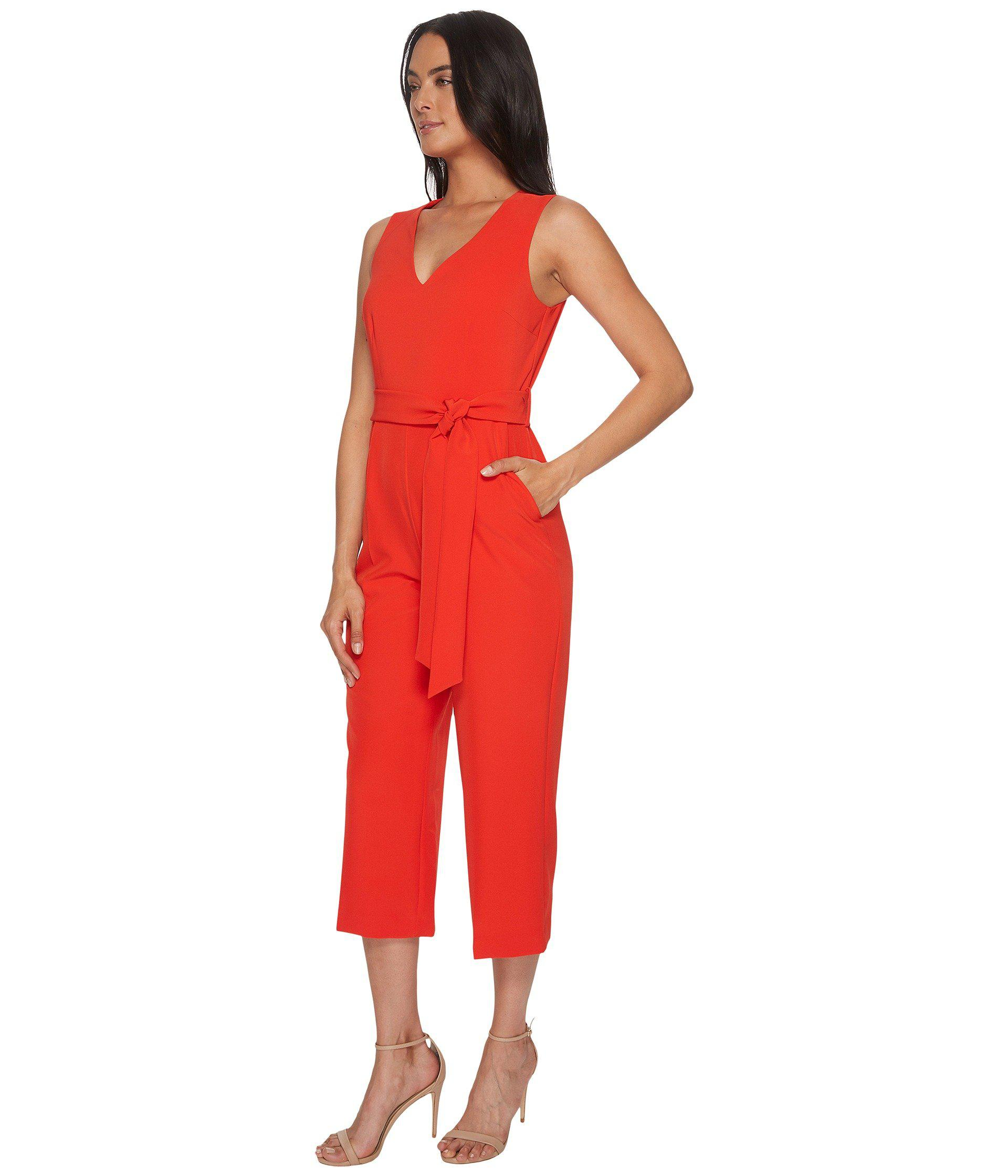 a3b9ef69f538 Lyst - Vince Camuto Sleeveless V-neck Belted Poly Base Jumpsuit in Red -  Save 44%
