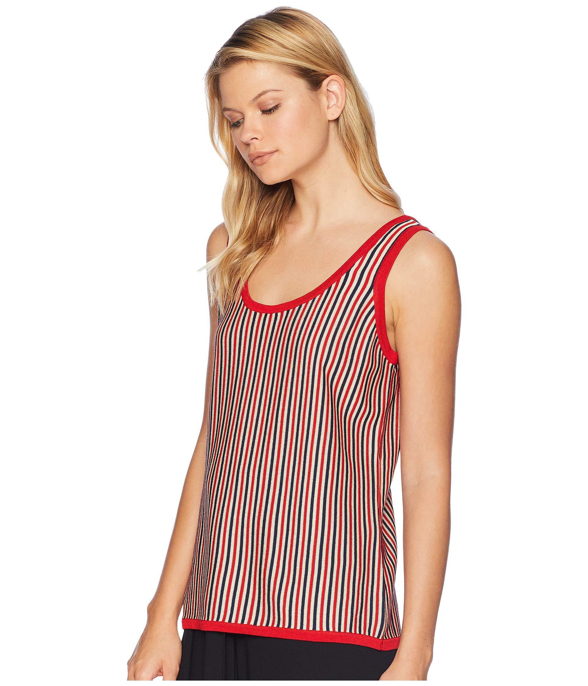 e84264ed6cd3e Lyst - Anne Klein Skinny Stripe Scoop Neck Tank Top in Red - Save 49%