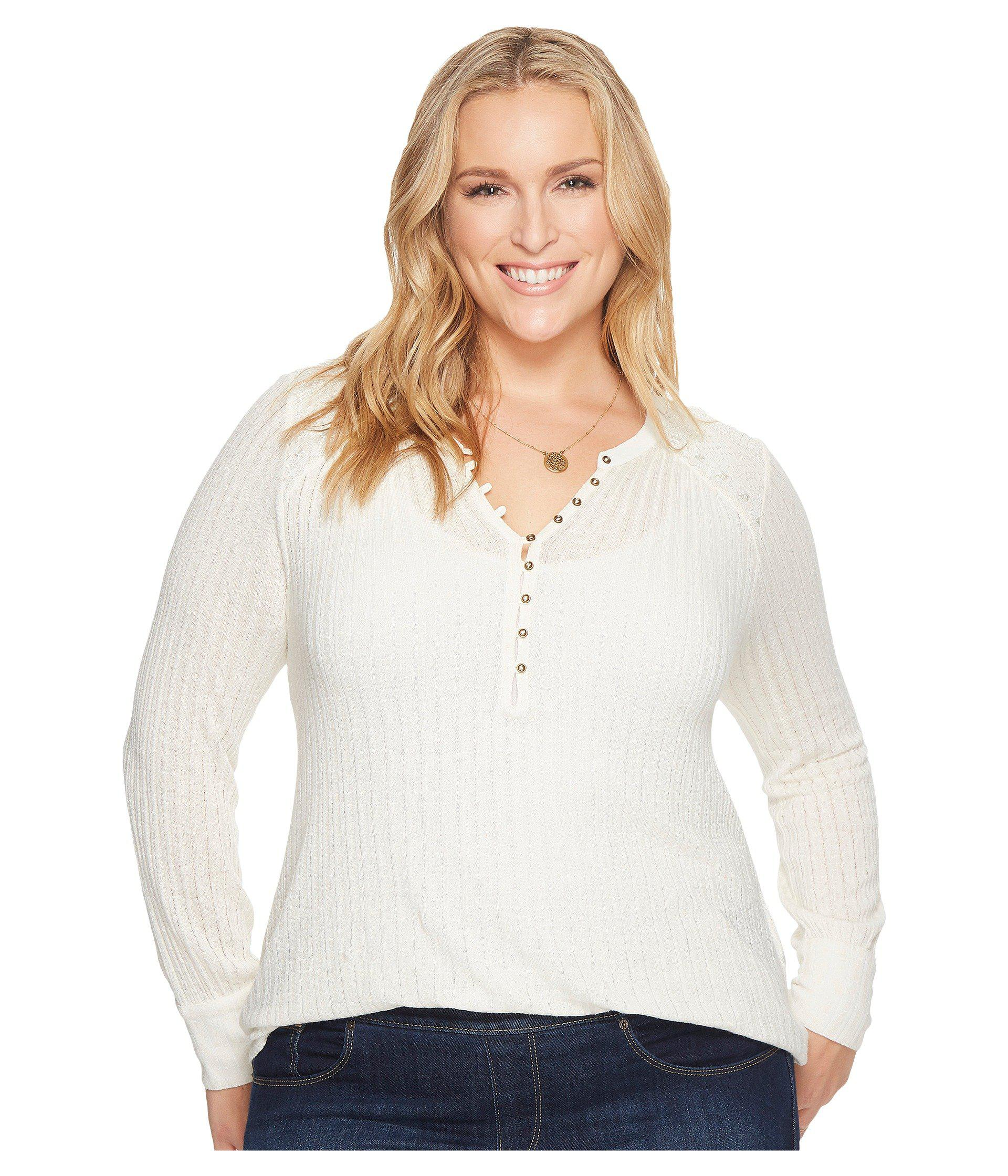 2281da29c5f Lyst - Lucky Brand Plus Size Embroidered Mix Henley in White - Save 18%
