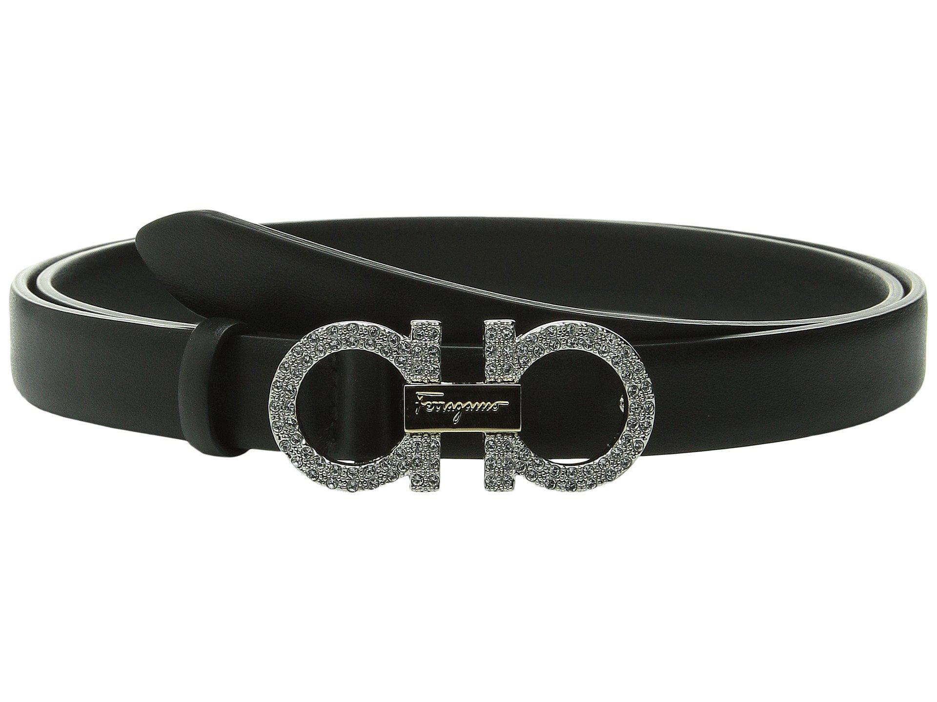 a594d8c4190aa ... switzerland lyst ferragamo crystal double gancini belt in black 7dd82  bb871