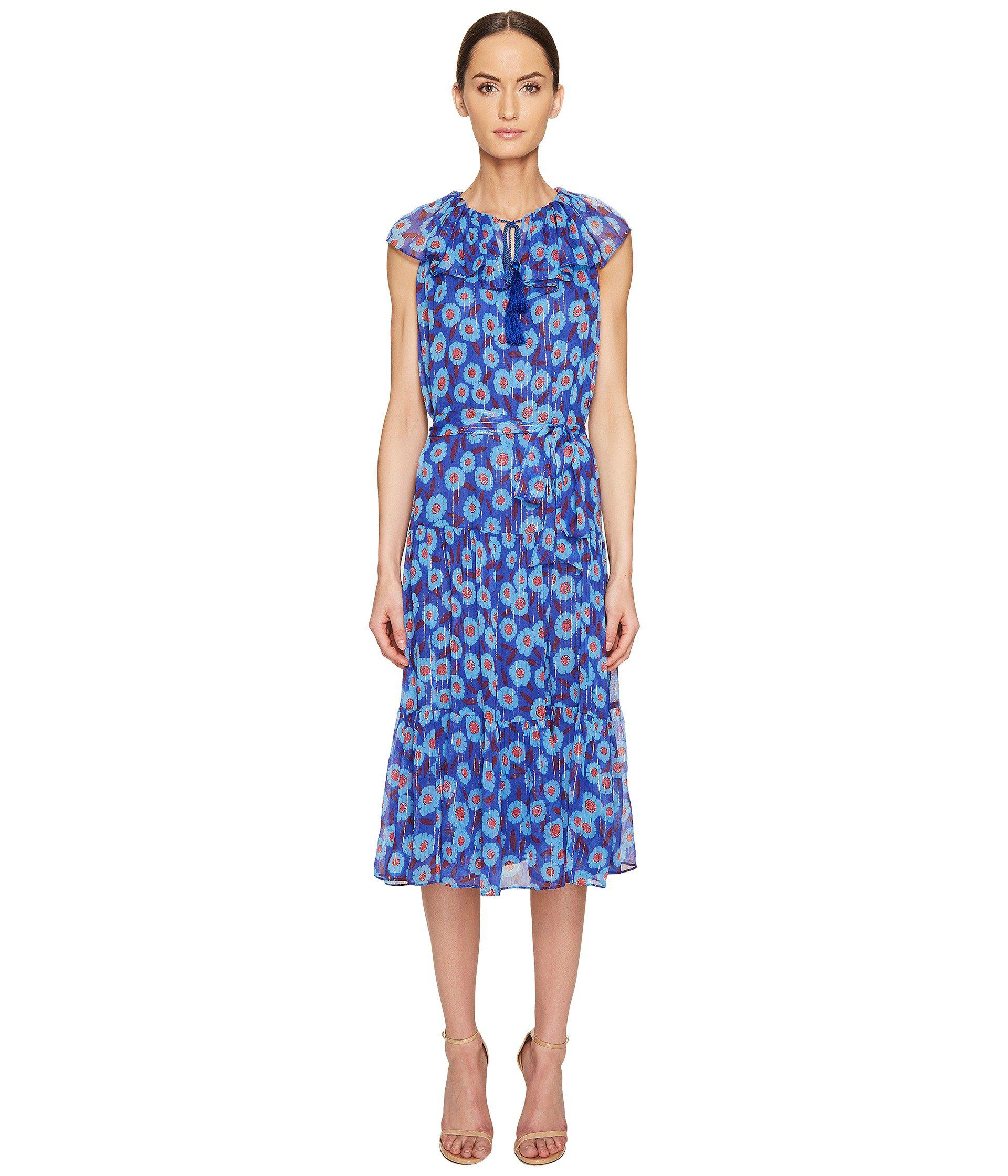 367adcc9dc Lyst - Kate Spade Full Plume Tangier Floral Chiffon Dress in Blue