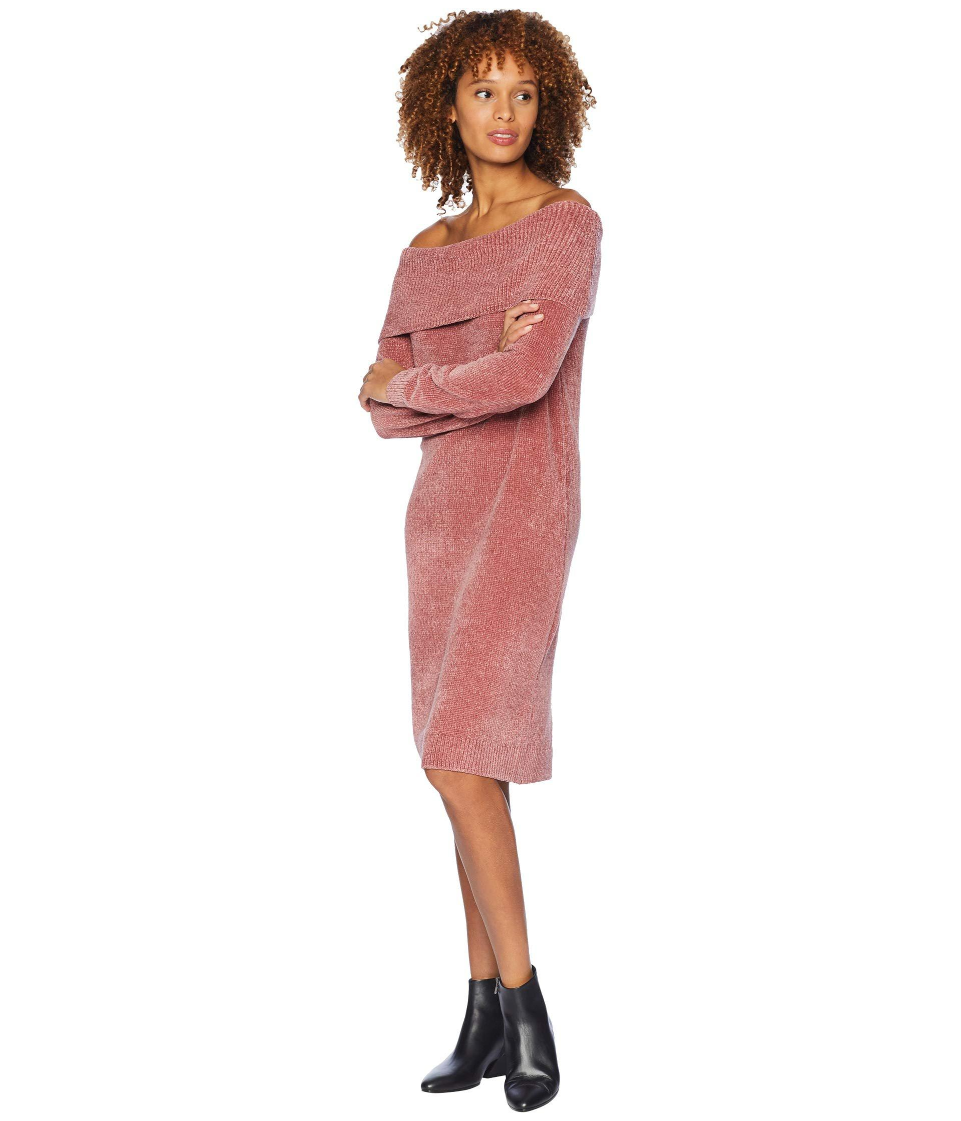 bb564a56fcaa Lyst - Nine West 3 4 Sleeve Off The Shoulder Shift Dress - Chenille in Red