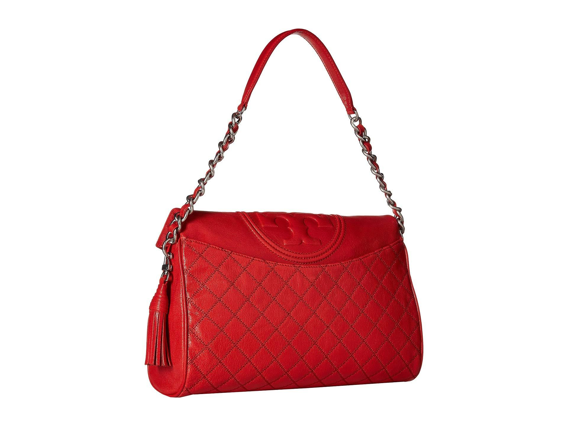 7ad31b1e776 Tory Burch - Red Fleming Distressed Leather Fold-over Hobo - Lyst. View  fullscreen