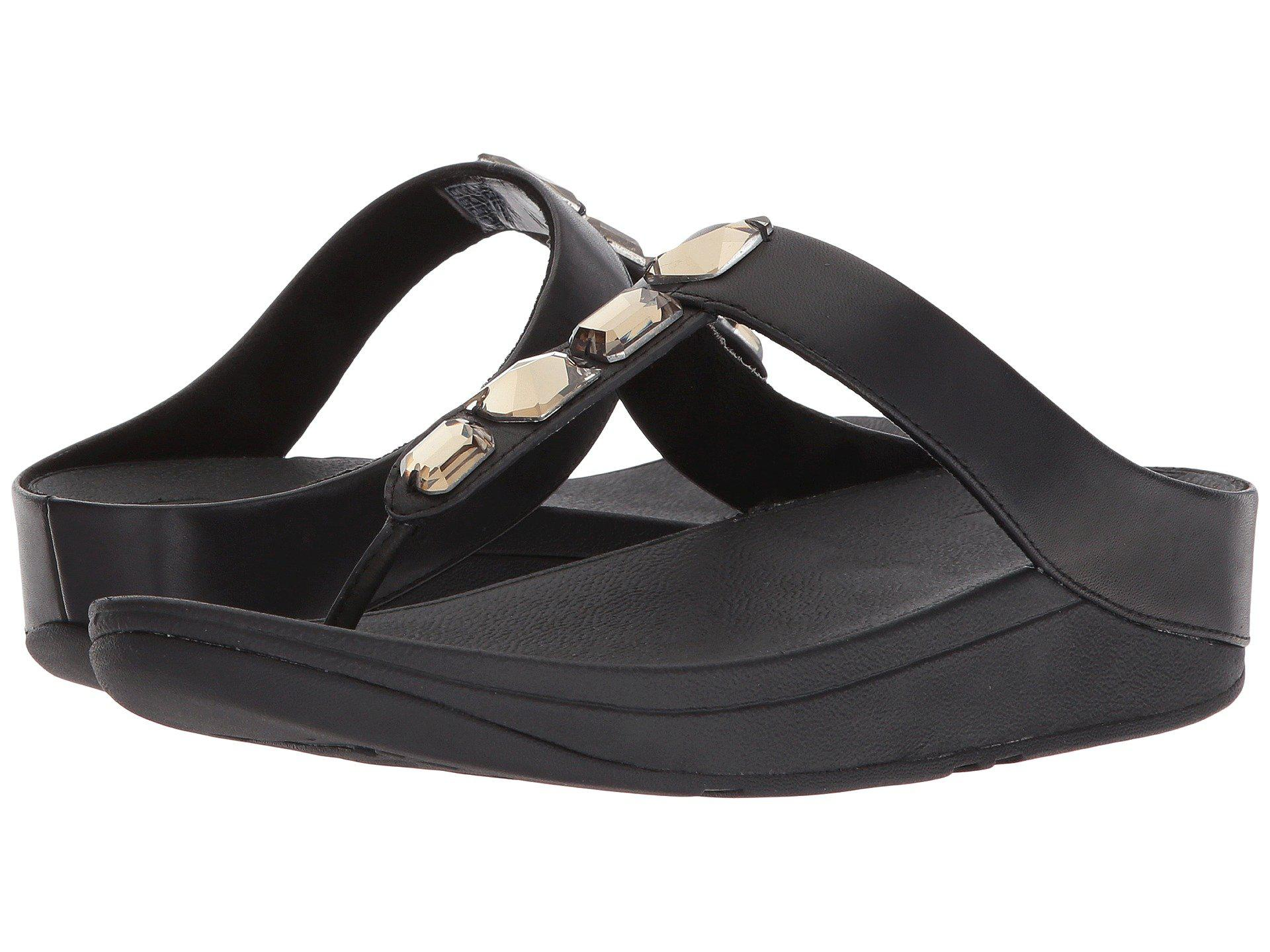 0457590121b7 Lyst - Fitflop Roka Toe Thong Sandals in Black