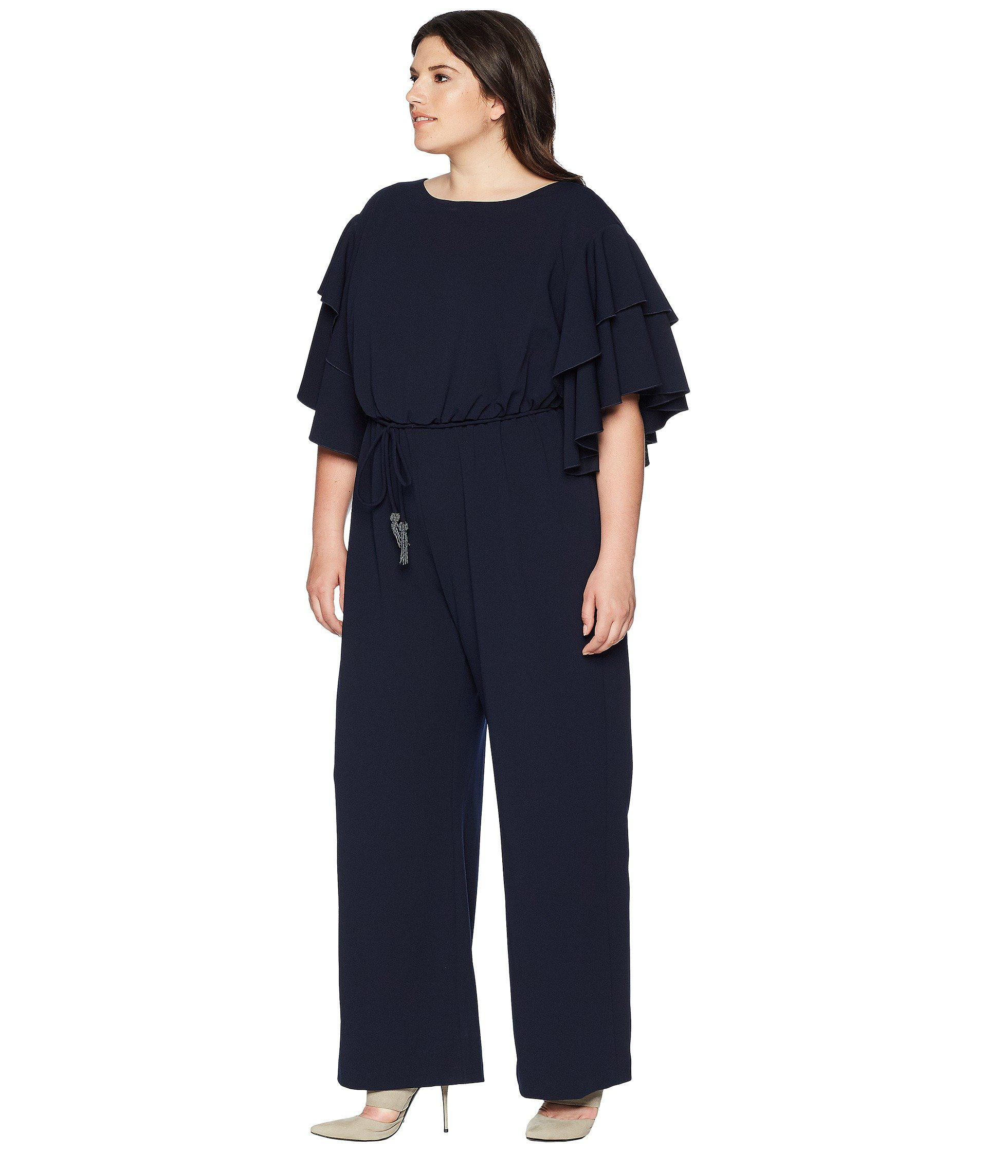 6c131c4221b9 Lyst - Adrianna Papell Plus Size Blouson Ruffle Sleeve Jumpsuit in Blue -  Save 43%