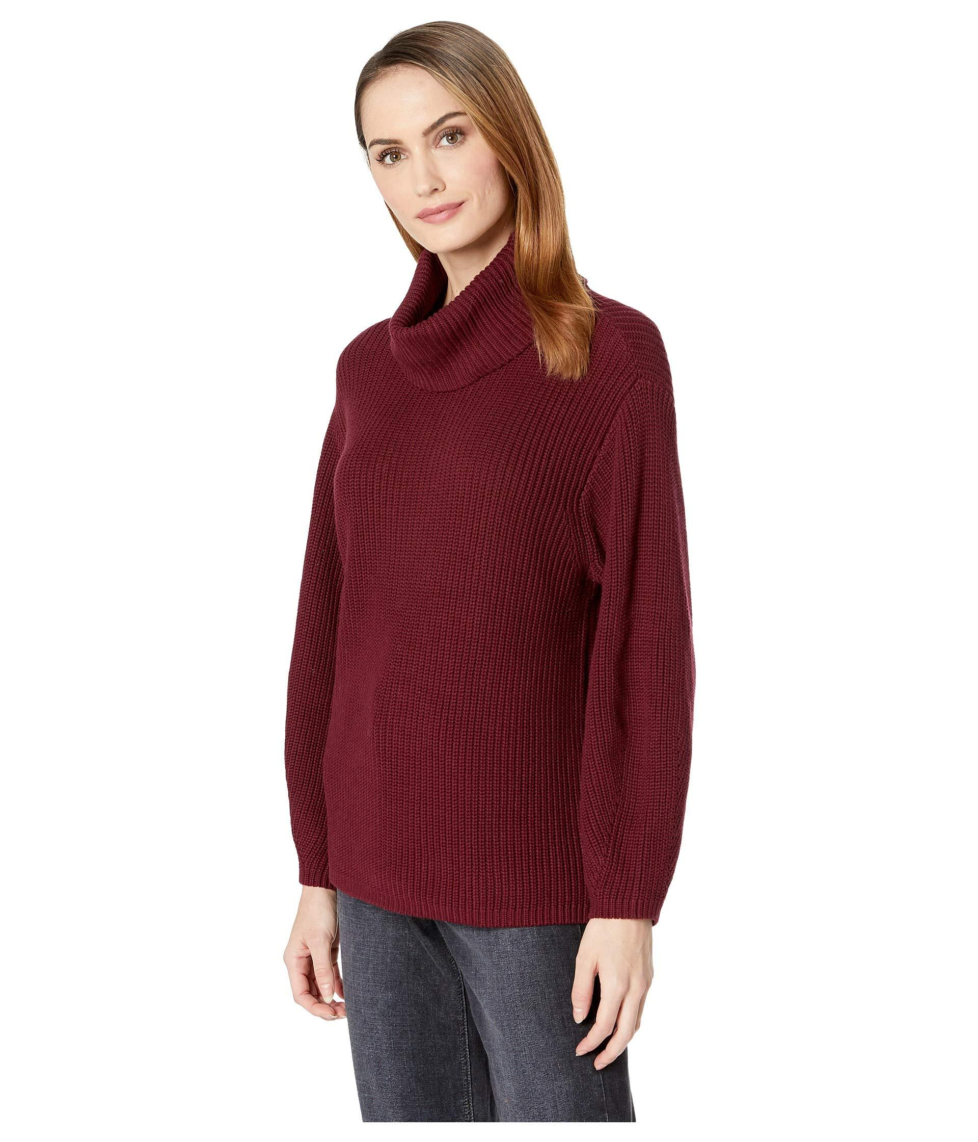 5bec6c30c6f Lyst - Vince Camuto Long Sleeve Rib Turtleneck Slouchy Sweater in Red -  Save 41%
