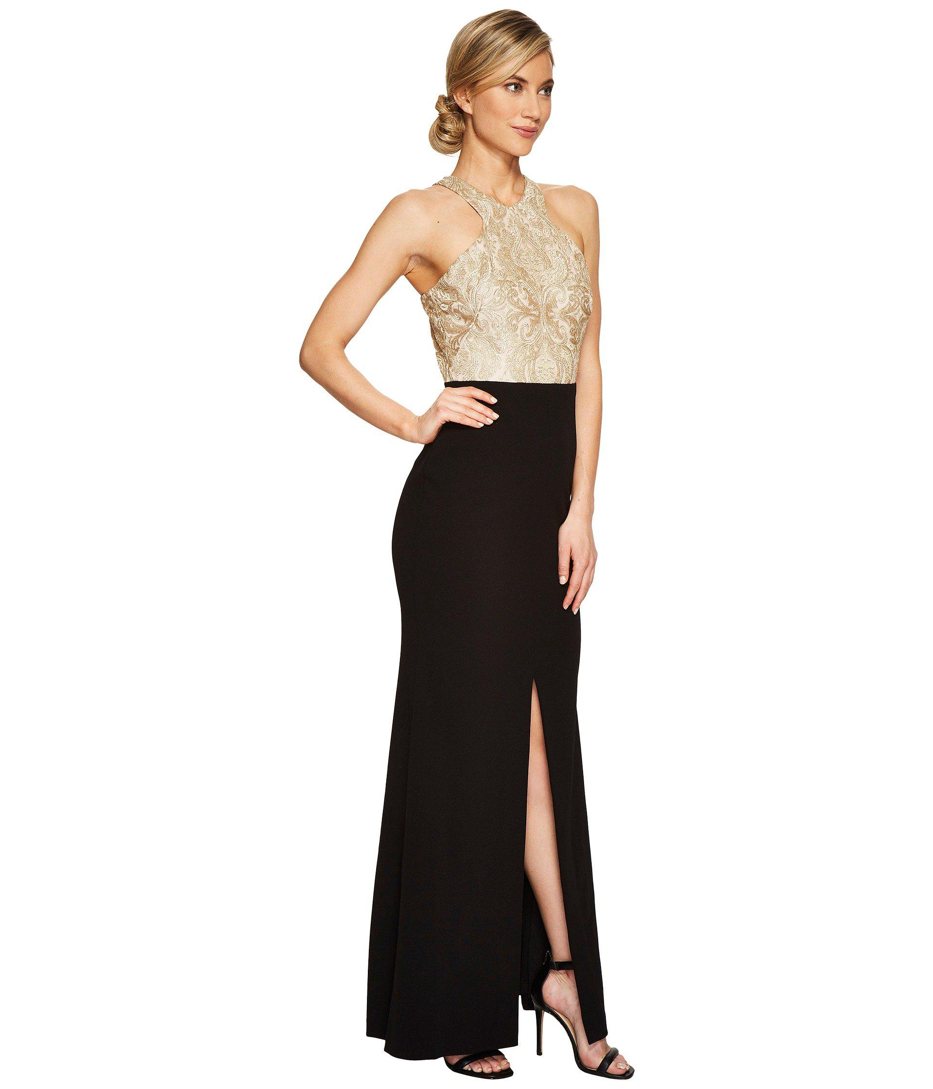 7ebb95a5791 Lyst - Calvin Klein Halter Neck Lace Bodice Gown Cd7b277b in Black
