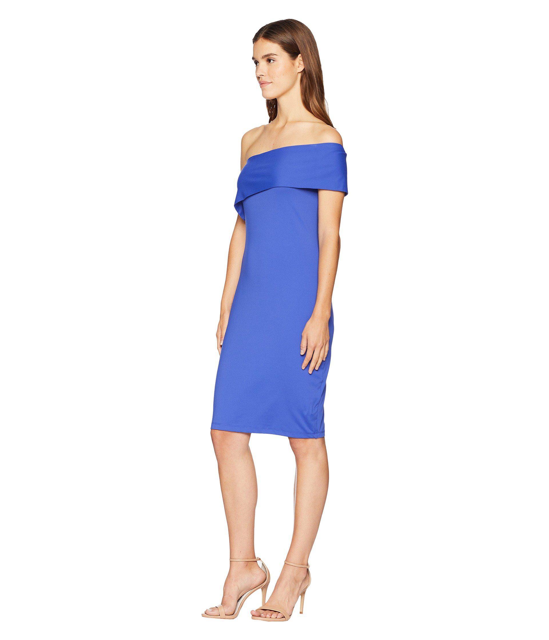 e4065b7a10970 Lyst - Susana Monaco Adriana One Shoulder Fold-over Dress in Blue - Save 30%