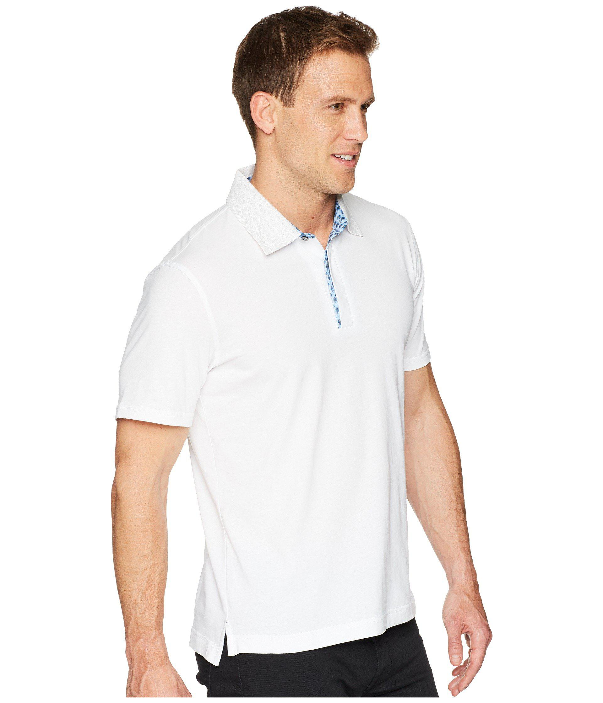 900aaabf Robert Graham - White Diego Short Sleeve Knit Polo for Men - Lyst. View  fullscreen
