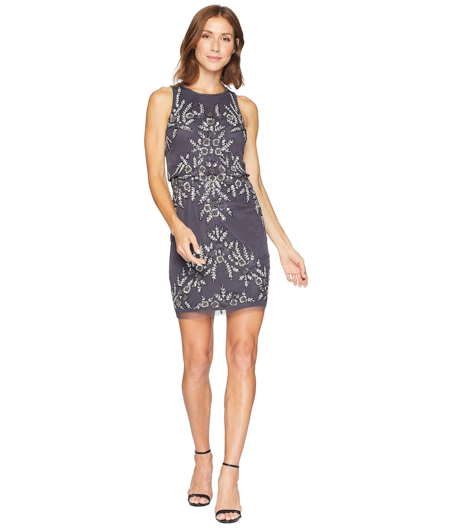 30492cb824a3 Adrianna Papell Beaded Blouson Halter Cocktail Dress in Blue - Lyst