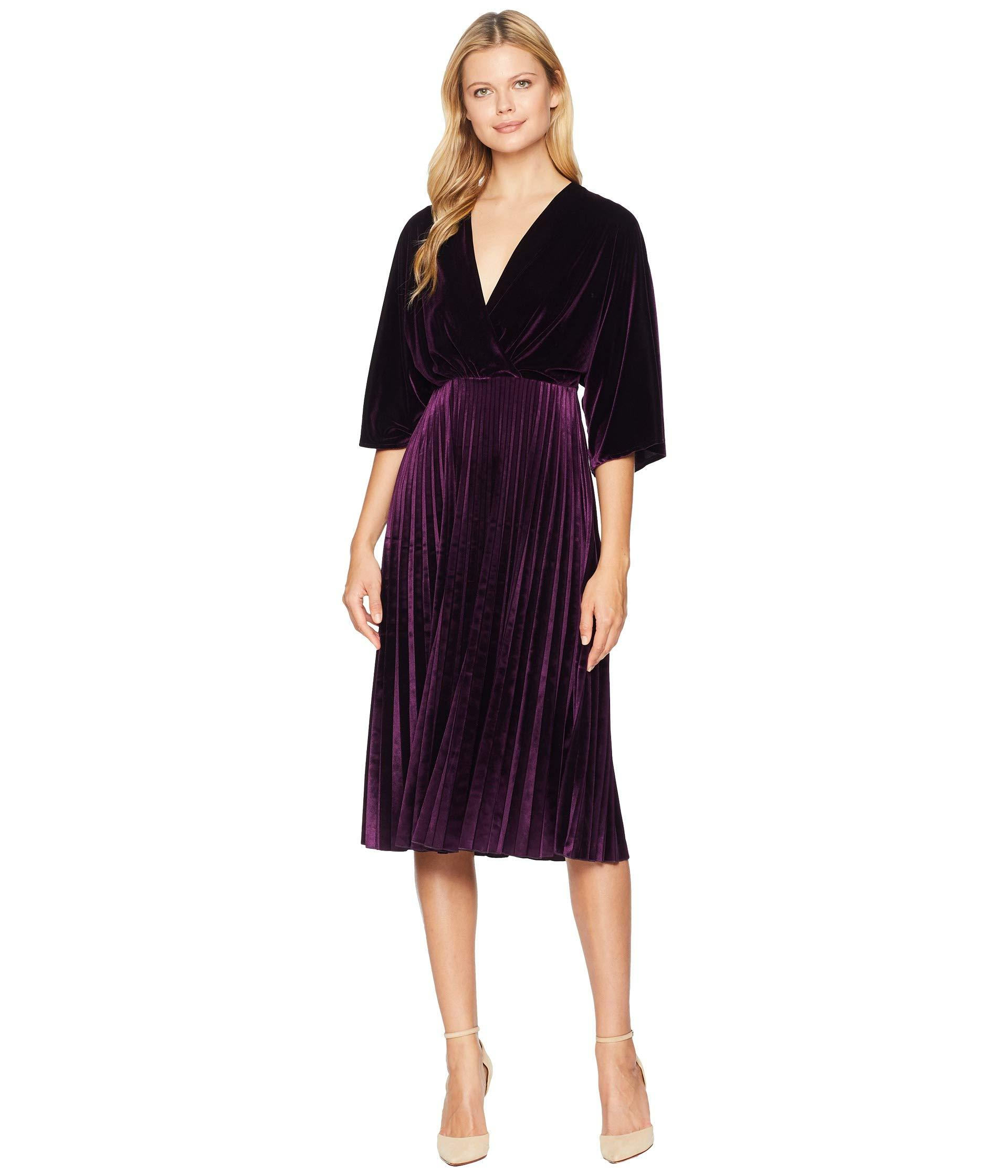 9a440cdc156 Maggy London. Women s Purple Stretch Velvet Kimono Sleeve Pleated Dress