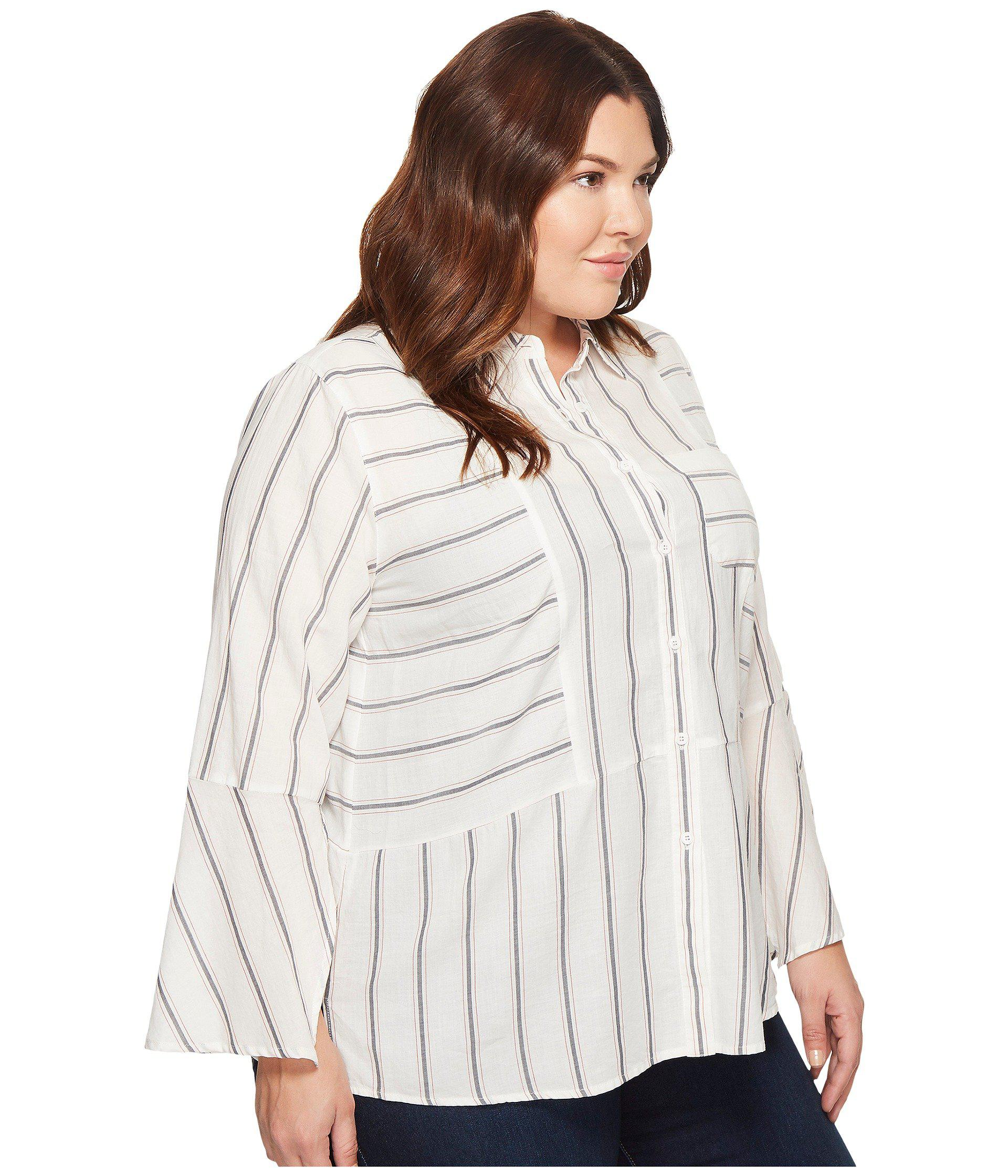 69089c3c33d Two By Vince Camuto - White Plus Size Bell Sleeve Yarn-dye Stripe Collared  Shirt. View fullscreen