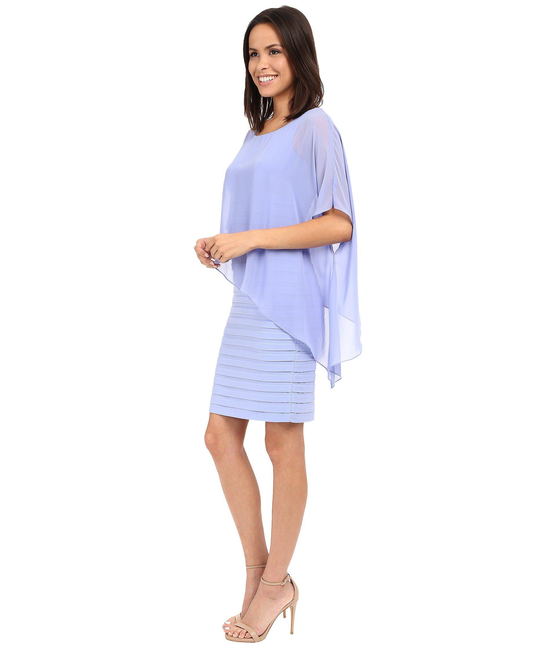 42695623ec05 Lyst - Adrianna Papell Chiffon Drape Overlay With Banding in Blue