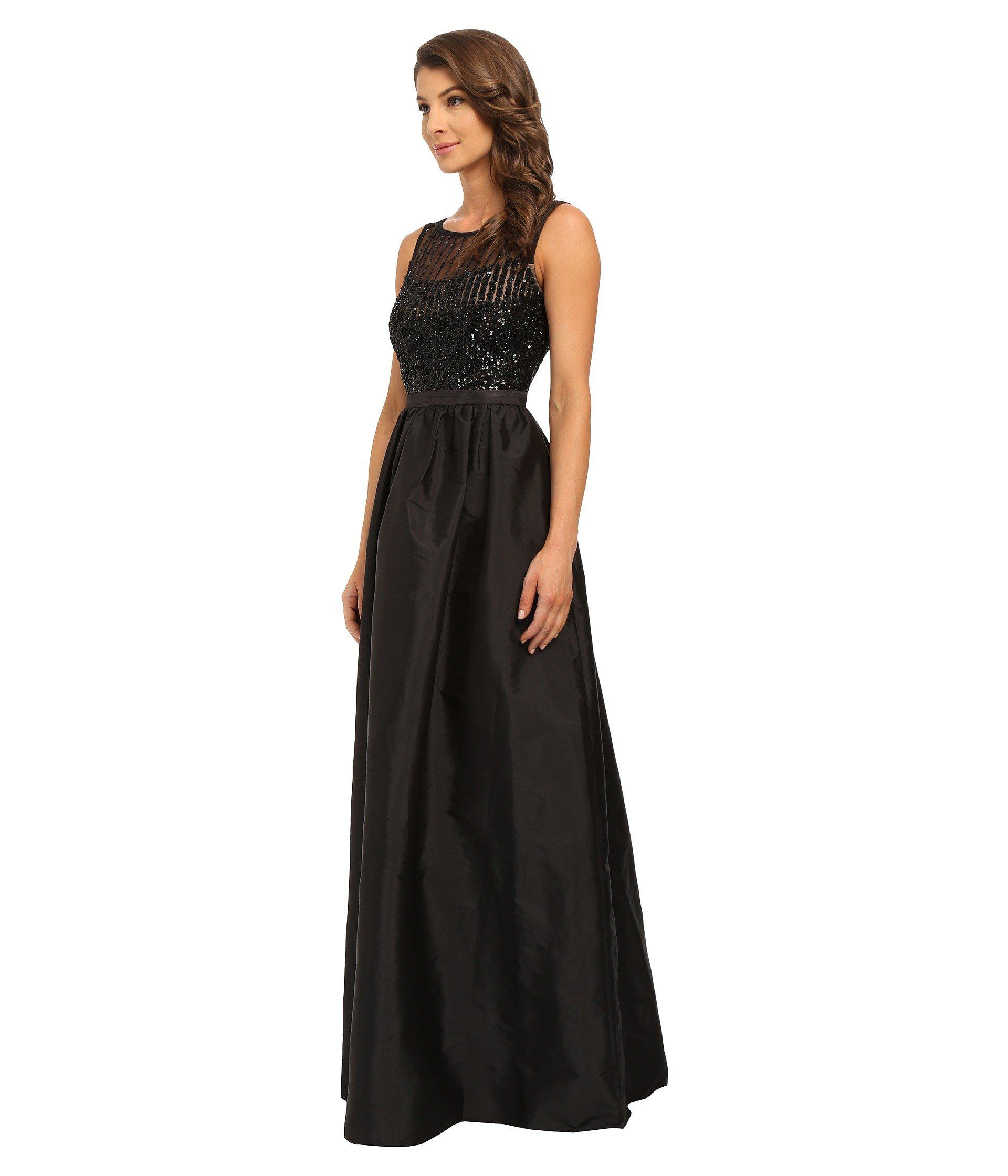 3af938d2335 Adrianna Papell Sleeveless Beaded Bodice Taffeta Ball Gown in Black ...