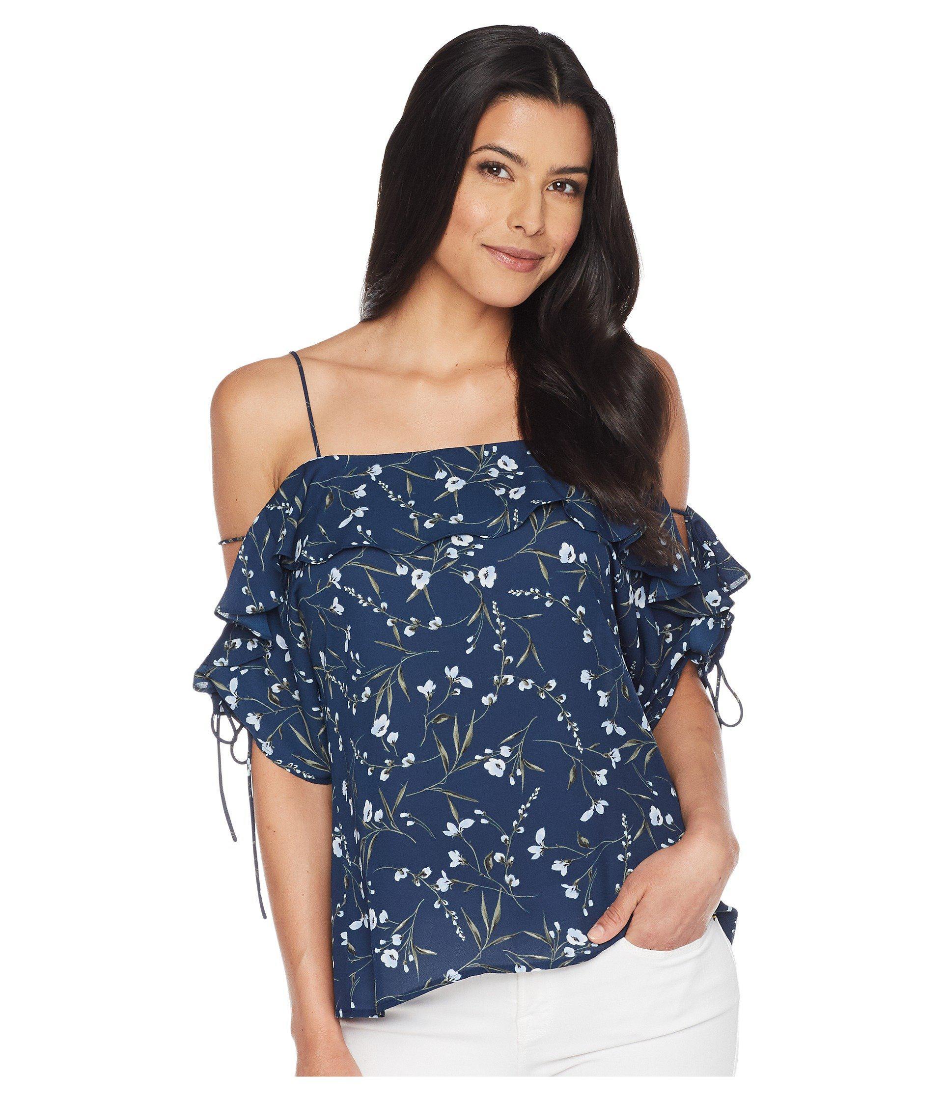 f3601c0094fb34 Lyst - Cece Off The Shoulder Graceful Floral Blouse in Blue - Save 56%