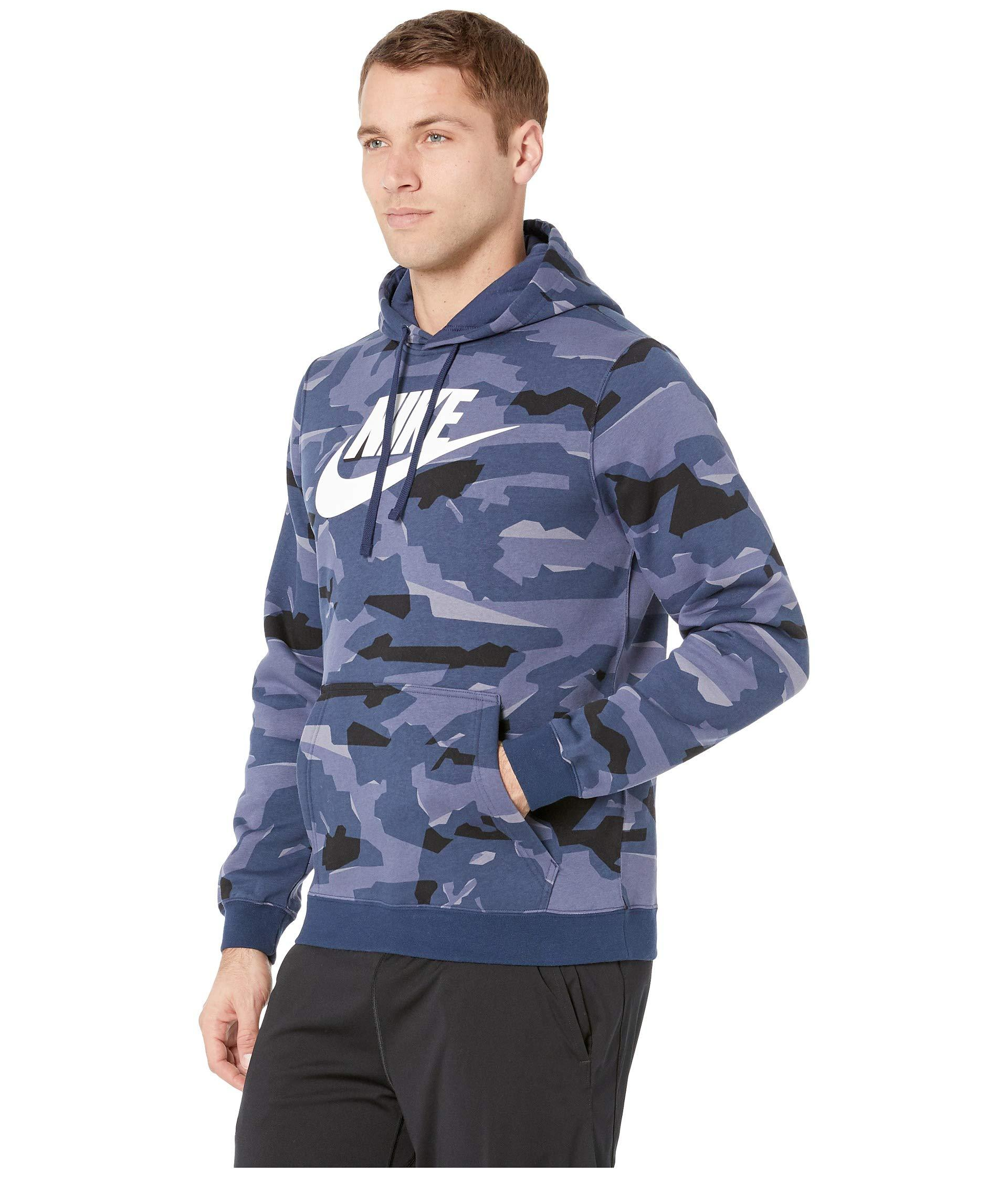 75691d315feb Lyst - Nike Nsw Club Camo Pullover Hoodie in Blue for Men