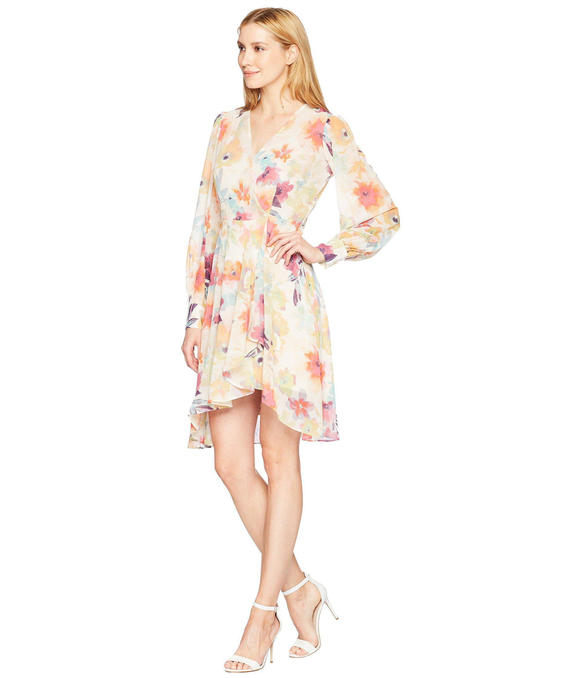 77b2c1c684f10 Lyst - Calvin Klein Long Sleeve V-neck Floral Print Chiffon Dress ...