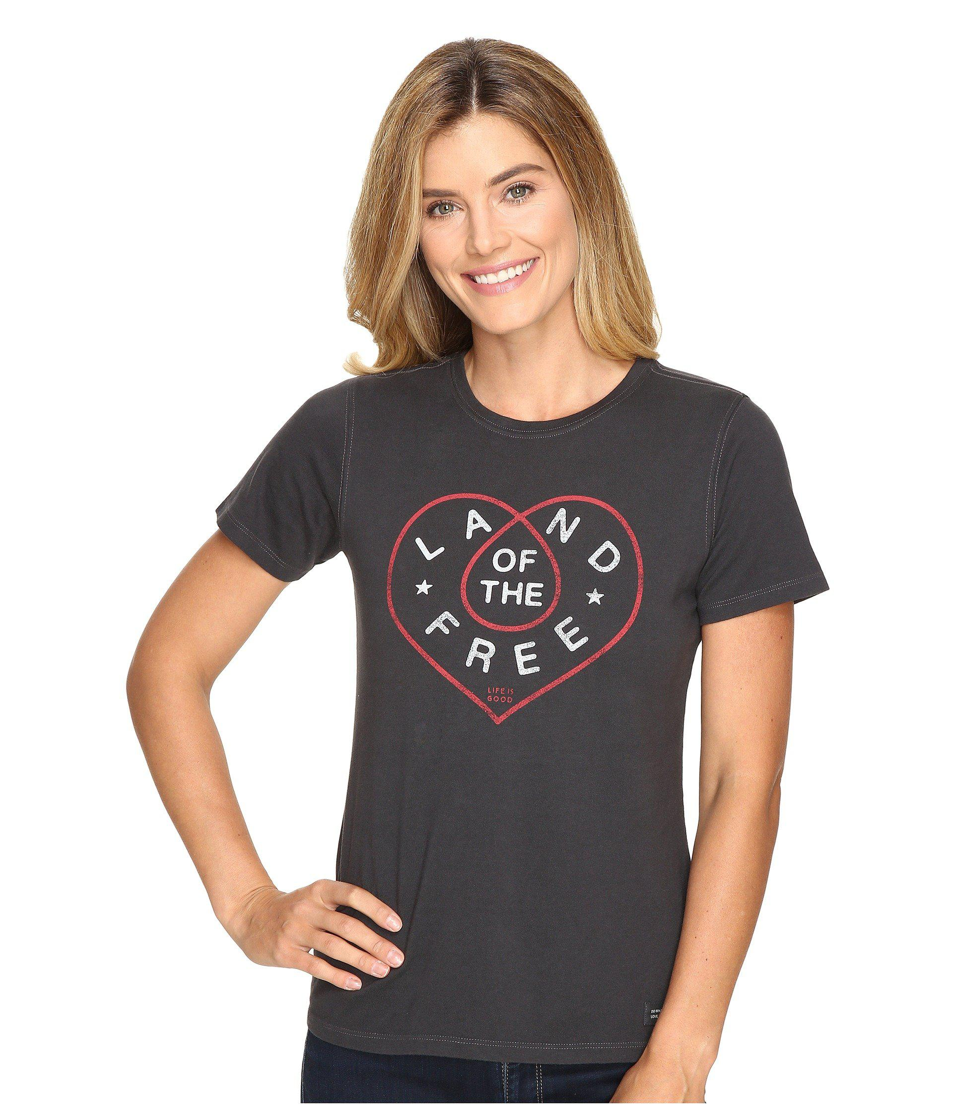 fa6adfc803f52e Lyst - Life Is Good. Land Of The Free Heart Crusher Tee in Black