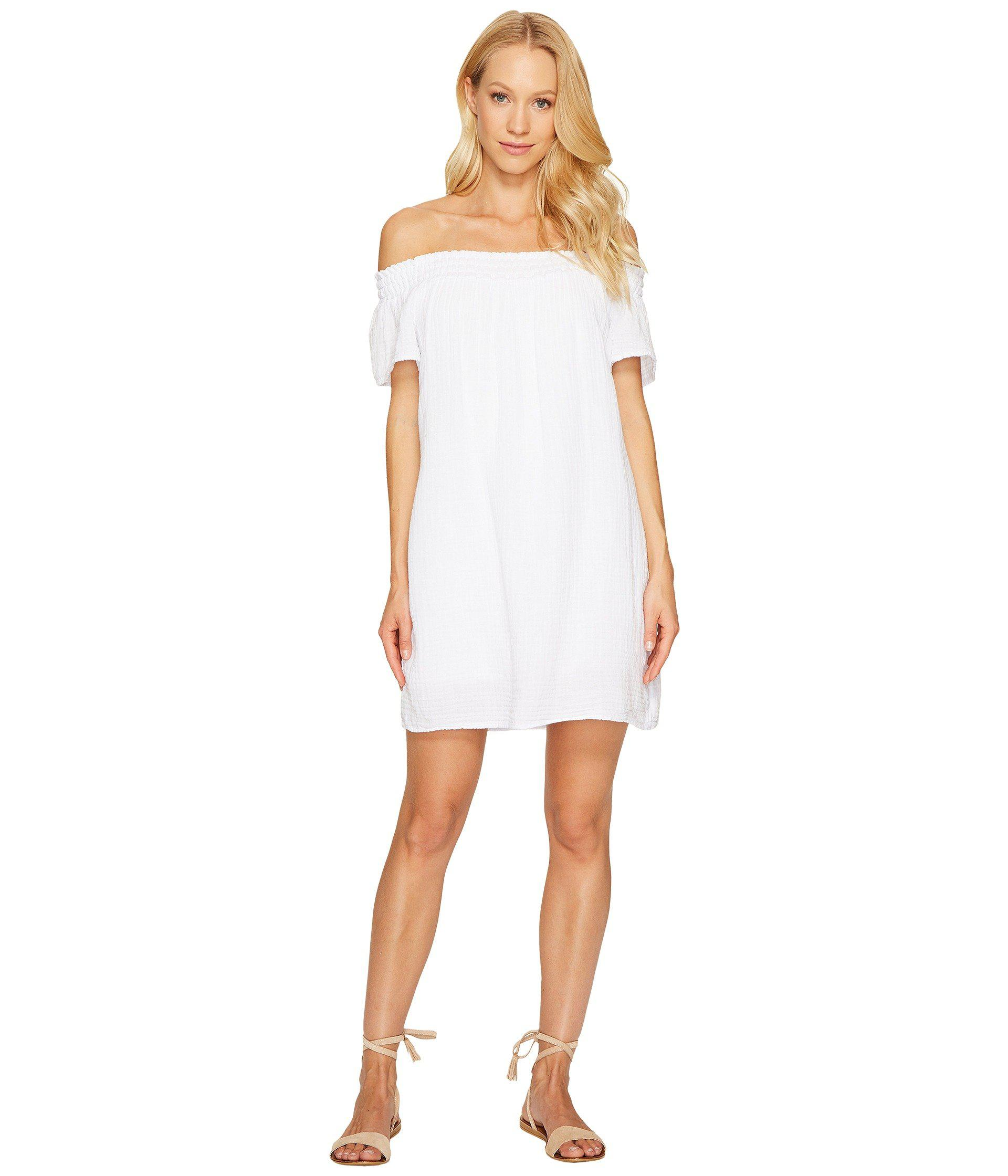 7cb116f44ec3 Lyst - Michael Stars Double Gauze Smocked Off Shoulder Dress in White