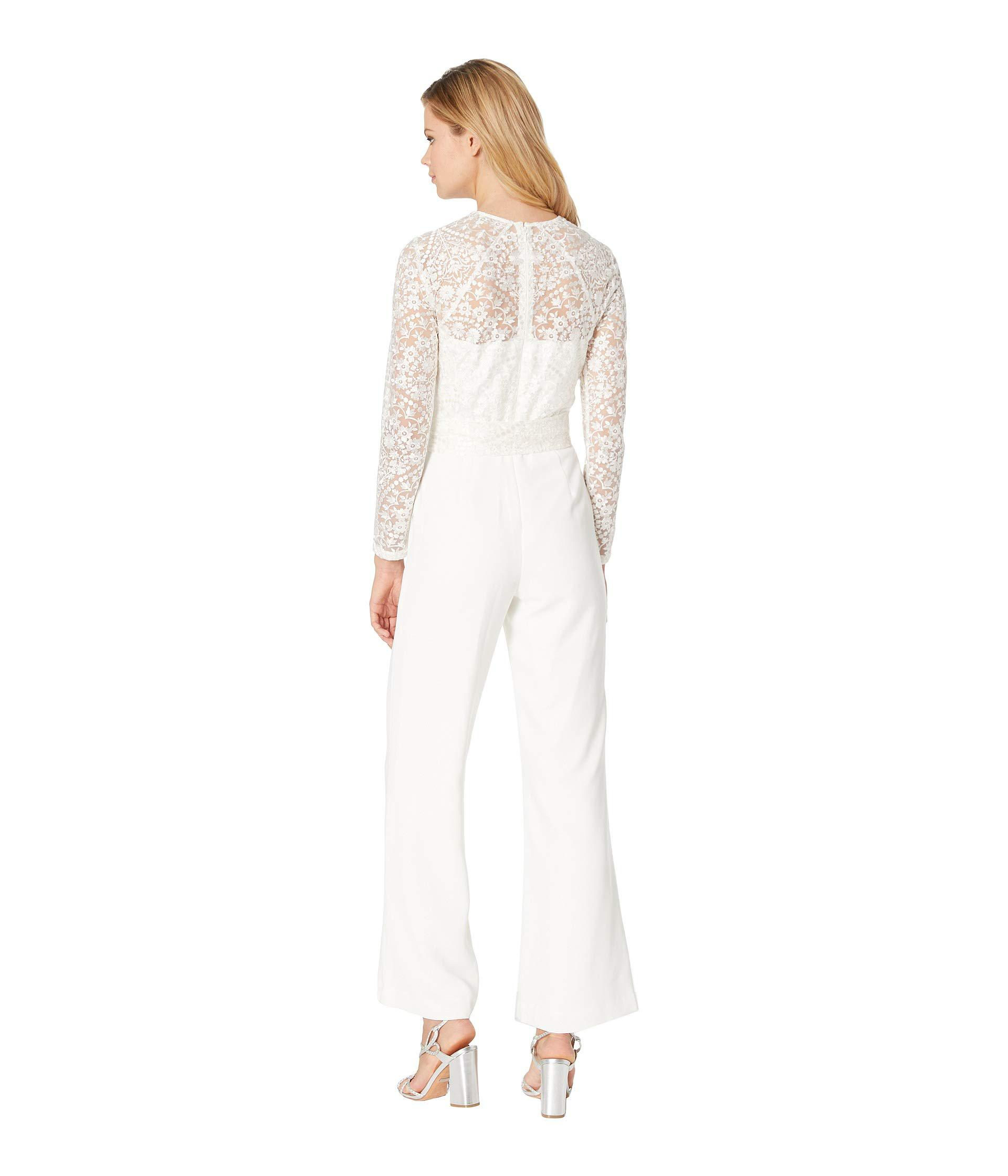 c0a6af1fed18 Tahari - White Long Sleeve Lace   Crepe Jumpsuit - Lyst. View fullscreen