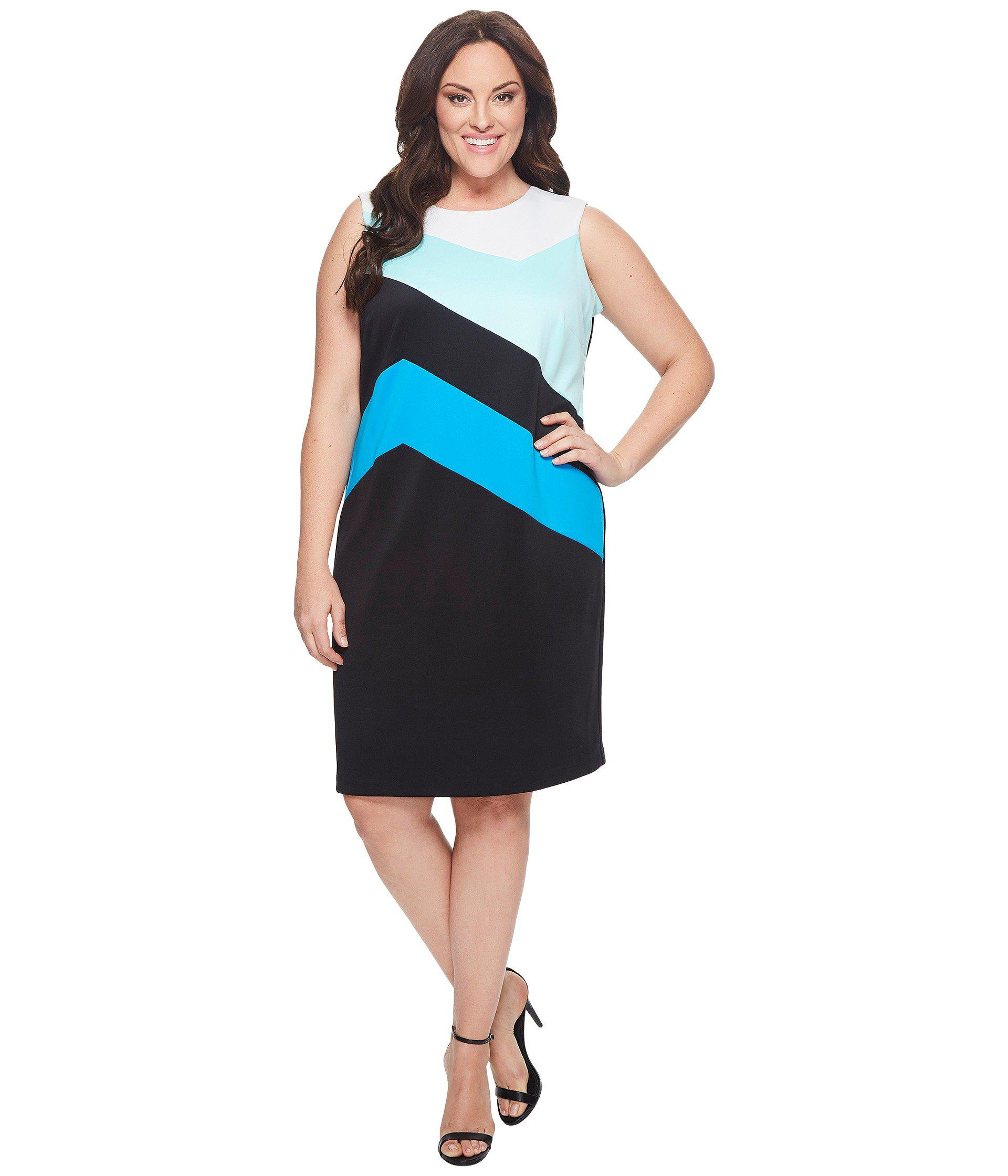 f2dfe1dbb6a Lyst - Calvin Klein Plus Size Color Block Sheath Dress in Black ...